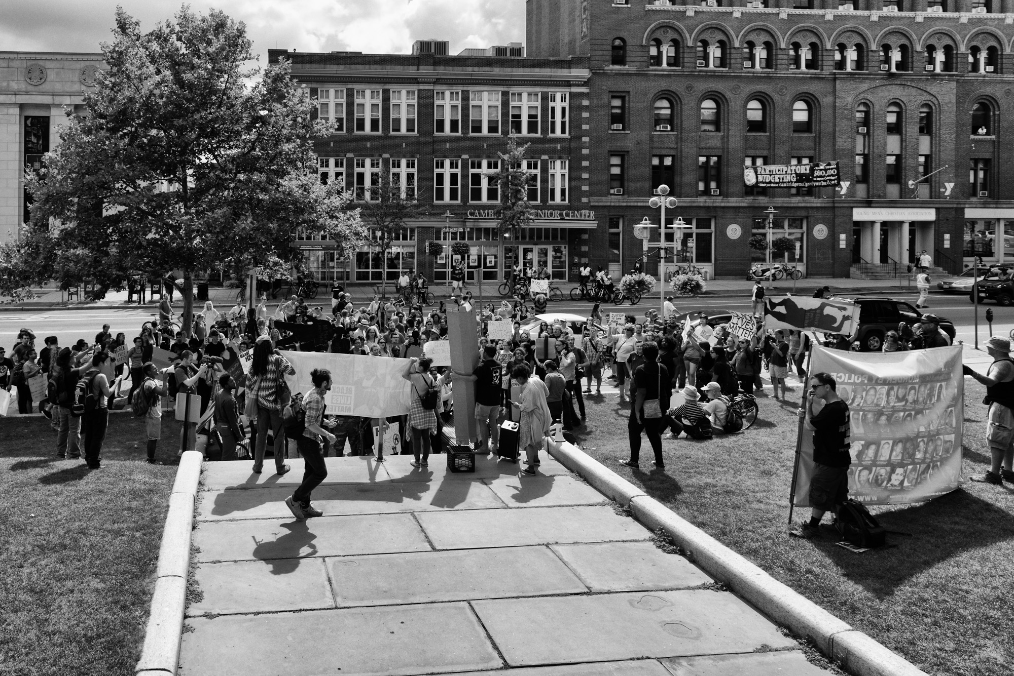 One of several stops during the march for speeches. This is on Mass. Ave. in front of Cambridge City Hall