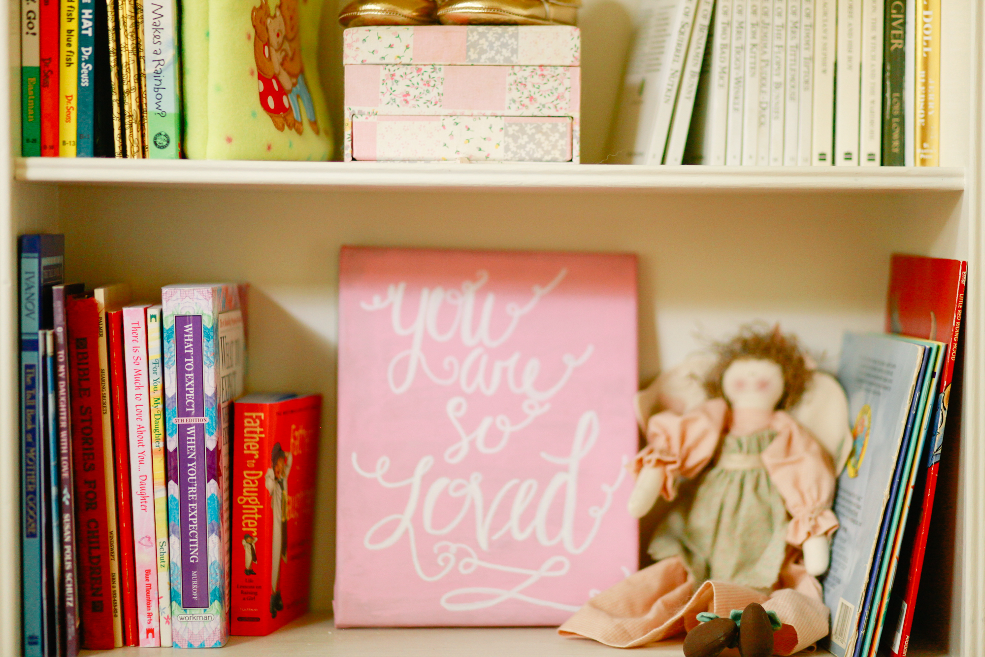 "My little sister-in-law made the ""you are so loved"" canvas...isn't it cute? I'll be sharing more nursery pictures soon!"