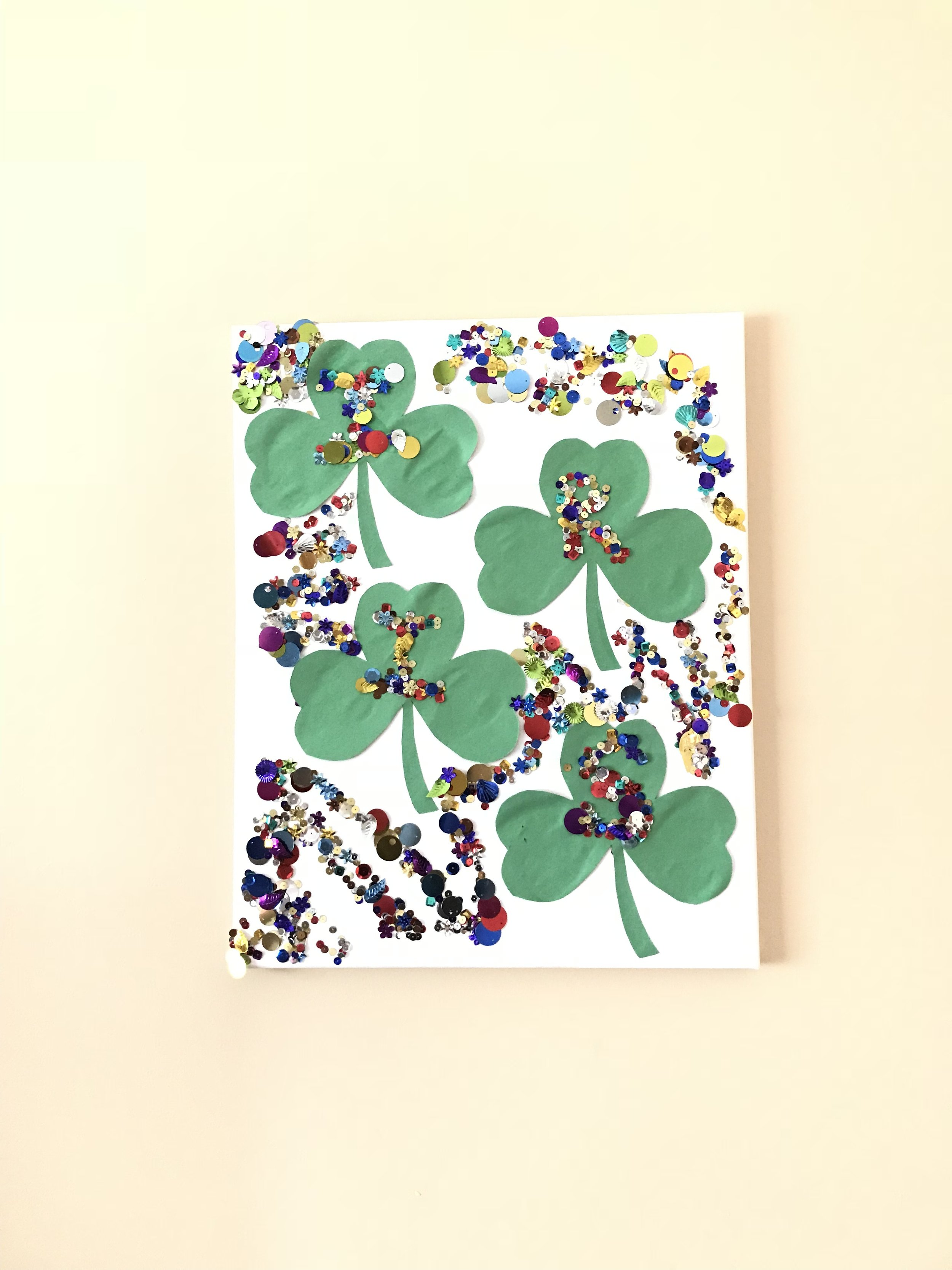 Shamrock Canvas St. Patrick's Day Toddler Activity for Name Recognition | MALLORIE OWENS