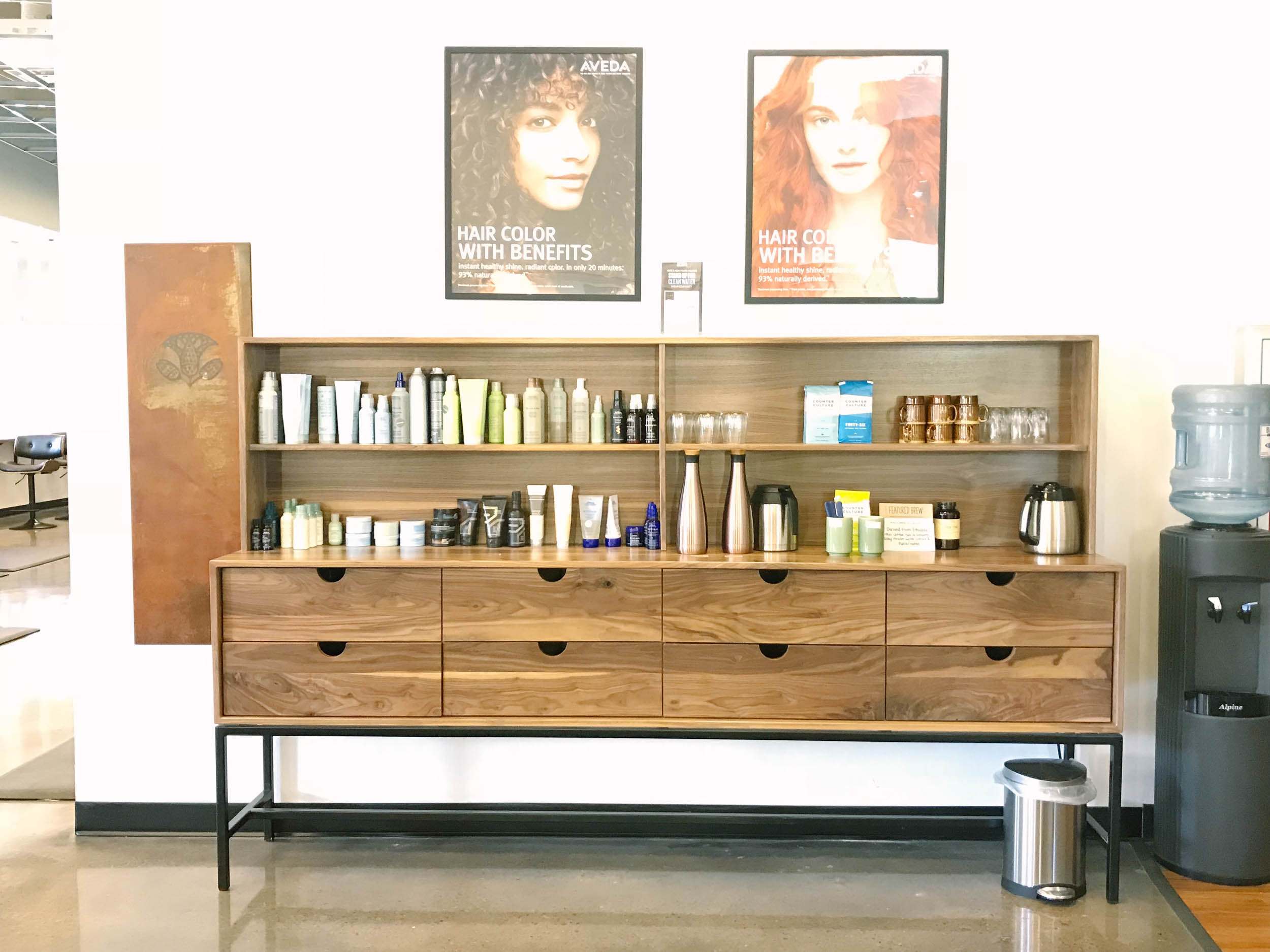 Custom Wood Hair Stations at Natural Alternative Salon Knoxville TN by Holler Design in Nashville