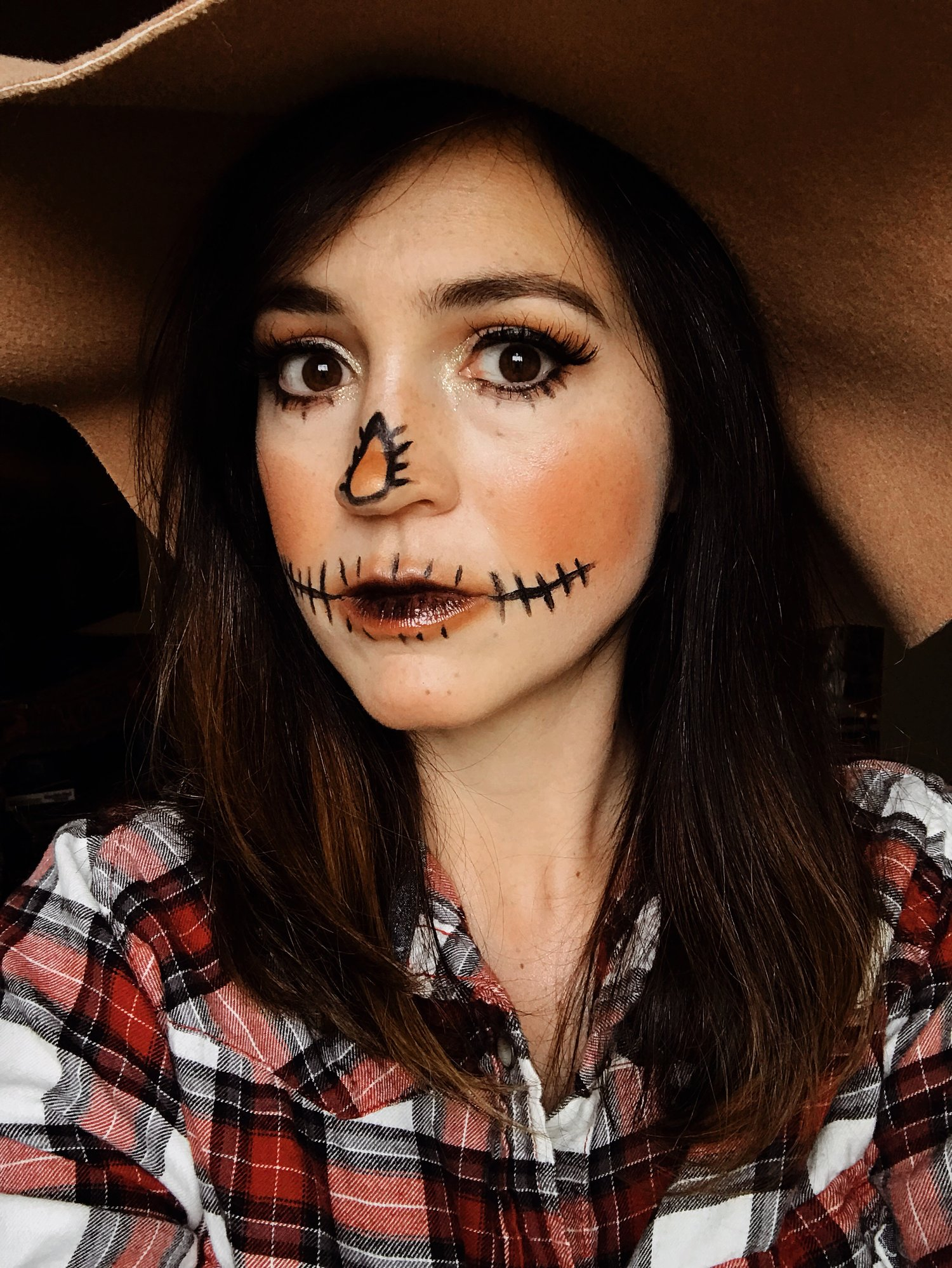 Last minute EASY scarecrow Halloween costume with makeup!