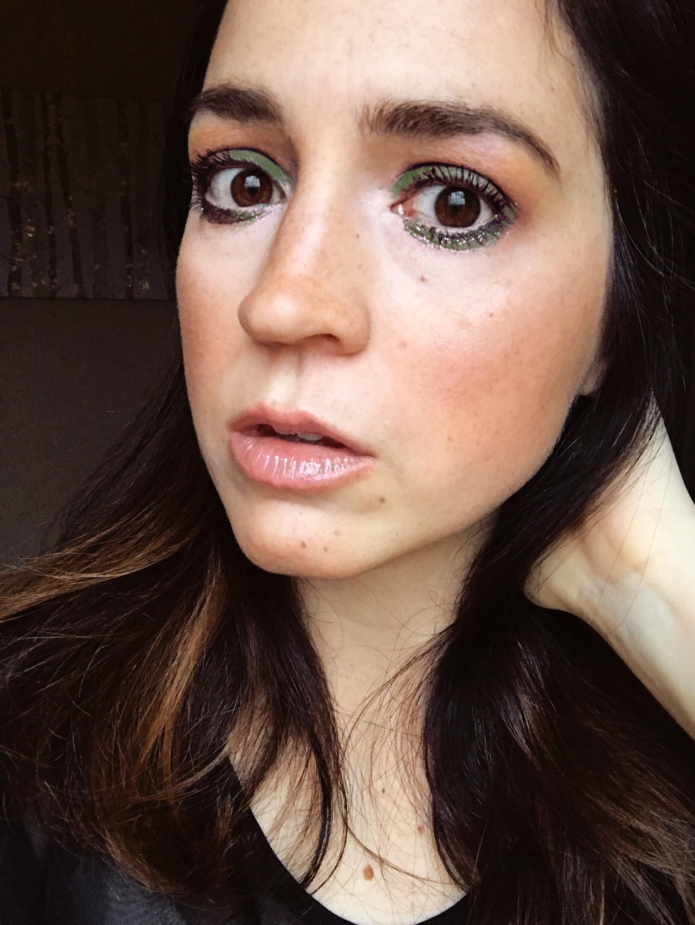 Green Christmas Glitter Festive Eye Makeup Look   Mallorie Owens