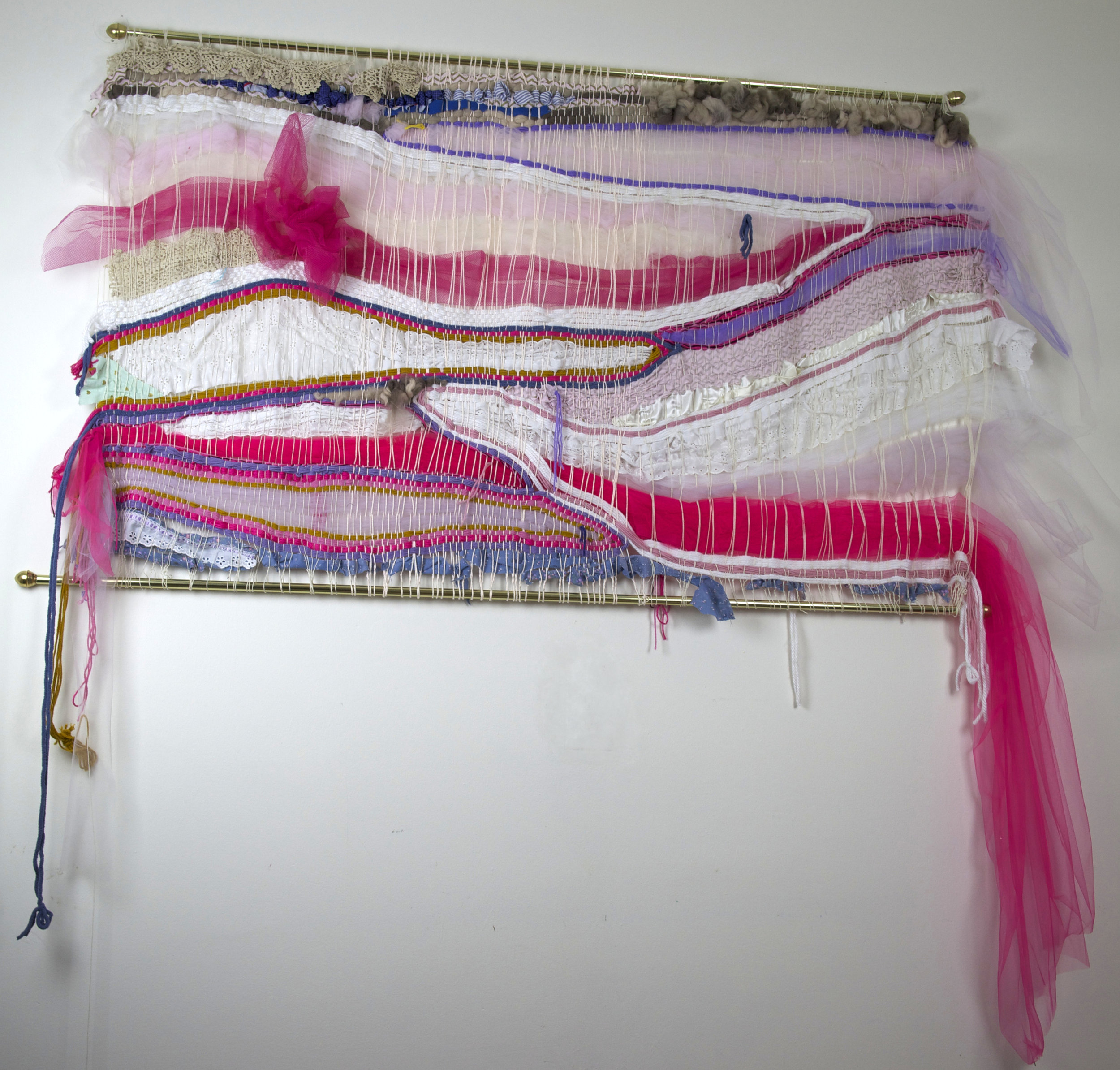 "Whales , toile, yarn, satin, cotton, cotton string. 66"" x 39"""
