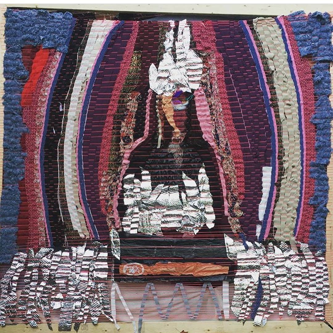 "Curandera , for Susan Alcorn, plastic, yarn, cotton, nylon string, vintage dresses, packaging materials. 96"" x 96"""