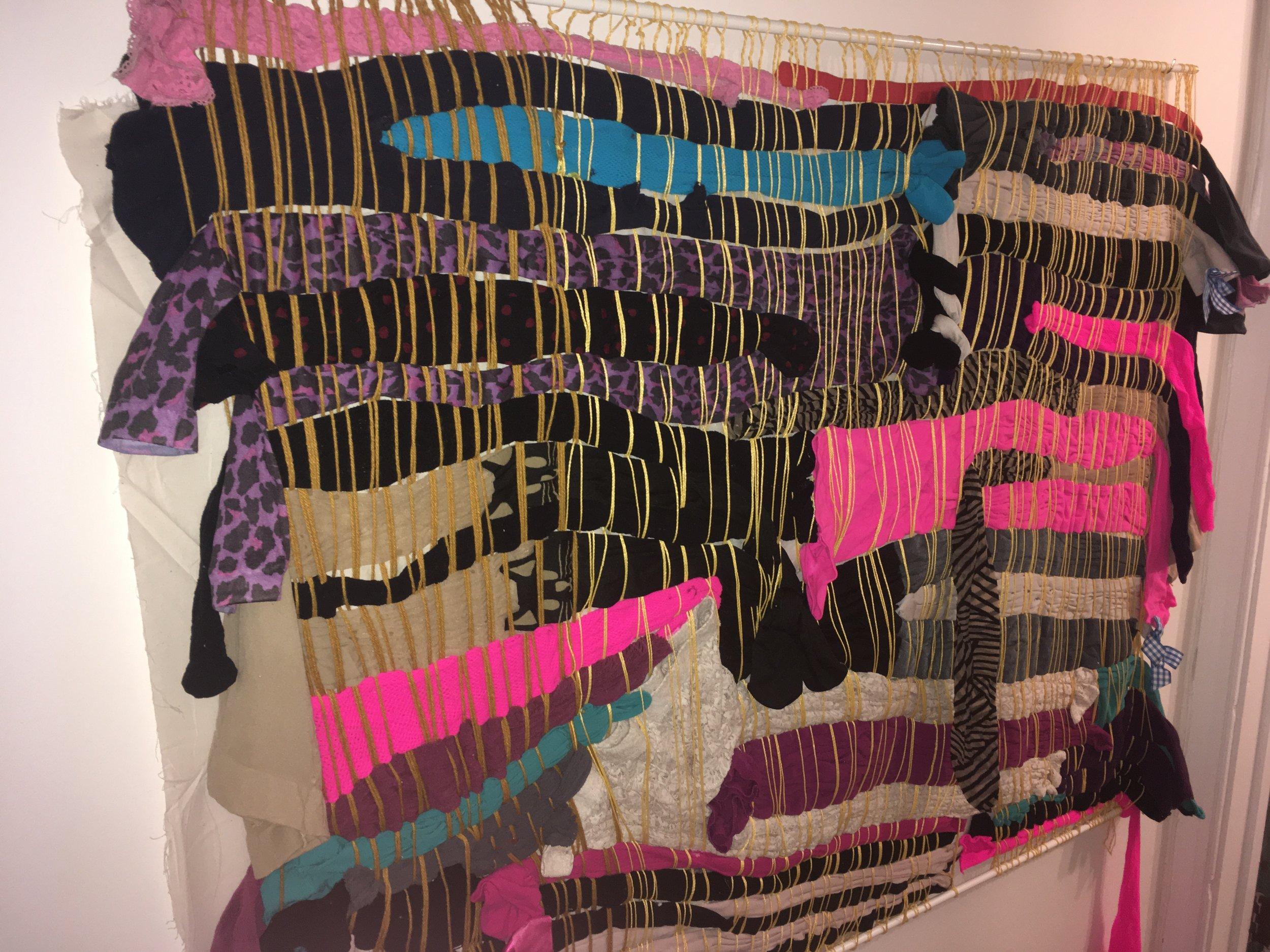 """Tights,  yarn, nylon, nylon string. 60"""" x 39"""""""