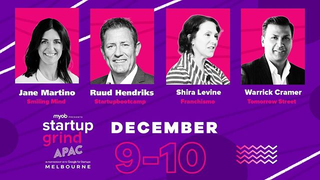 IF YOU WERE STILL MAKING UP YOUR MIND – WE HAVE GOT THE REASON TO BUY YOUR TICKET TODAY!⠀ We proudly announce the following speakers will be joining us at Startup Grind APAC presented by MYOB in just 5 weeks!!⠀ Warrick Cramer the former CEO of Vodafone's Global innovation centre 'Tomorrow Street' headquartered in Luxembourg, Shira Levine - the Former Head of Community Platform for Zynga, eBay and Sephora and founders from world-leading accelerator Startupbootcamp and global mindfulness app sensation - Smiling Mind!⠀ ⠀ Connect with 3000+ entrepreneurs and commit to your growth today.⠀ GET YOUR TICKETS NOW!:)⠀ ⠀ LINK IN BIO⠀ ⠀ https://buff.ly/2Y1p53E⠀ ⠀ #startup #startupchannel #startups4peace #startupdigital #startupevent #startupstories #startupnigeria #startupuniverse #startupperks #startupfun #startupsg #startupcpa #startupvideos #startuphustle #startupkit #startupcontest #startupceo #StartupsInBangalore #startupministries #startuplyfe #startuphappymoment #startupmena #startuplingo #StartUpEntreprenuerAcademy #startupistanbul #startupfeeling #startupjobsistanbul #startupjourney #StartupSpeakup #StartupProblems