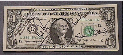 A one dollar bill  from the Apollo 11 flight