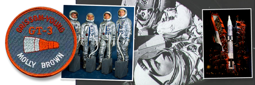 Gemini III crew and backups (left to right) John W. Young, Virgil I. Grissom, Walter M. Schirra Jr. and Thomas P. Stafford. (photo middle) Young, in foreground, with Gus Grissom inside the Gemini 3 capsule.(photo right)Gemini-Titan spacecraft sits on the launch pad.photo credit: NASA