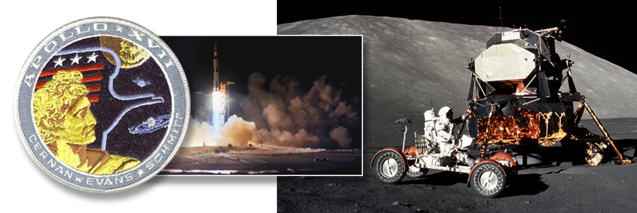 Apollo 17 space vehicle is launched from Kennedy Space Center. (photo right) Astronaut Eugene A. Cernan, Apollo 17 mission commander, makes a short checkout of the Lunar Roving Vehicle. photo credit: NASA