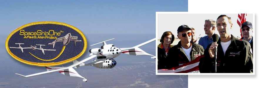"SpaceShipOne and White Knight in flight. Source: Rokits XPrize Gallery. (photo right) (L to R) Marion Blakely, FAA - Chief. Commercial Astronaut- Michael Winston ""Mike"" Melvill - Sir Richard Charles Nicholas Branson - Elbert Leander ""Burt"" Rutan - William Brian Binnie & Paul Gardner Allen."