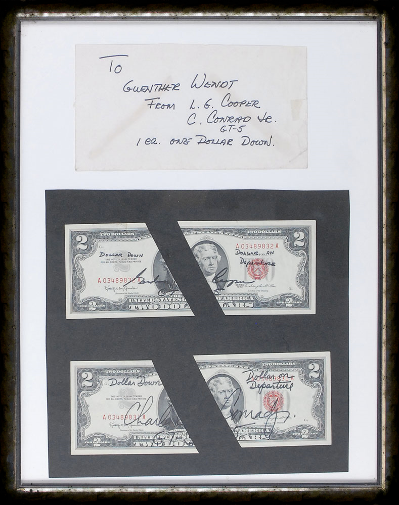 These rare, and very personal $2 bills from the Gemini 5 flight and crew, framed with the envelope in which the flown halves where returned to Guenter. The envelope is written in GT-5 Pilot Charles Conrad's hand.