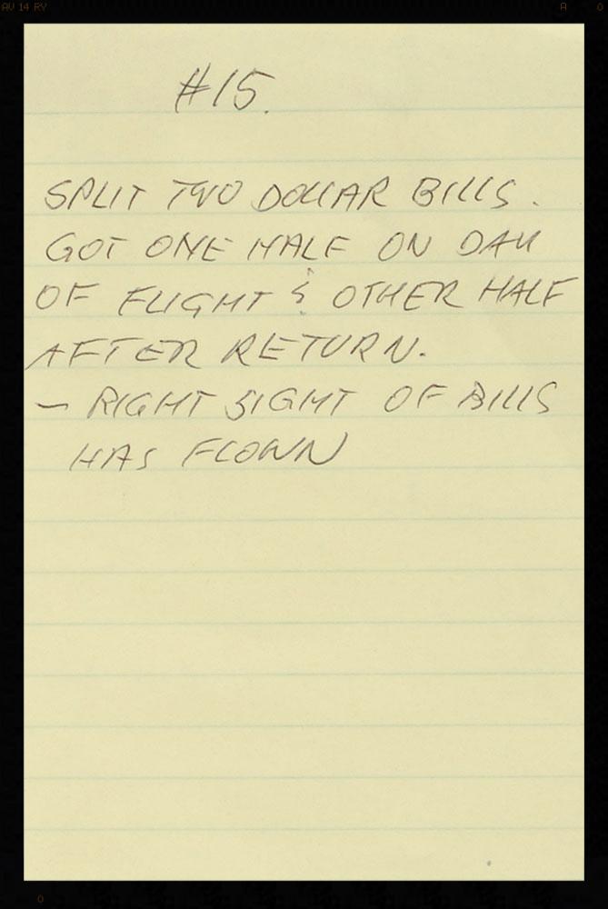 Guenter's original hand written LOA about the bills.