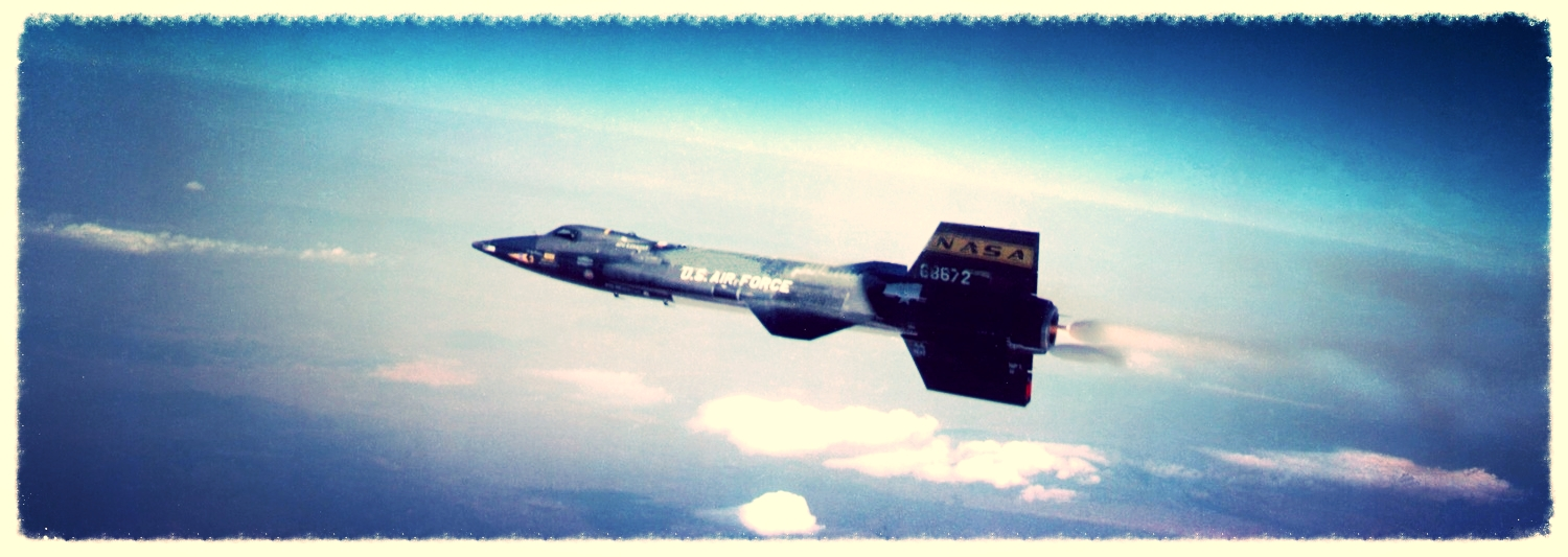 The X-15 rocket plane, shortly after being dropped from its B-52 mother ship, and the full engine burn to take it to the edge of space. Three X-15 planes flew 199 flights: 13 of which reached altitudes exceeding 50 miles, the USAF definition of space; two, exceeded 60 miles.