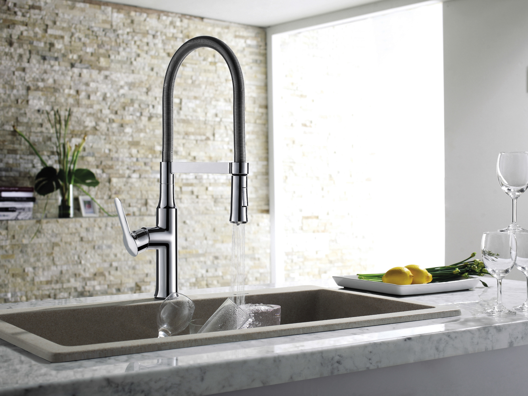 Astini Novello kitchen taps, available in chrome and brushed steel finish from £379.99 - Available autumn 2014