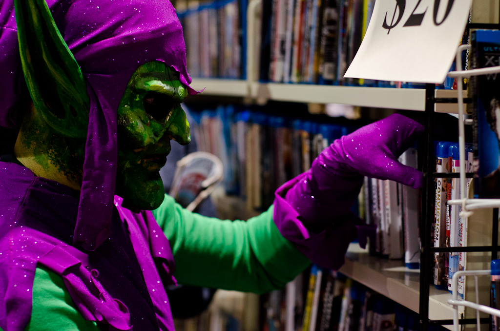 green goblin casually just browsing some dvd's.