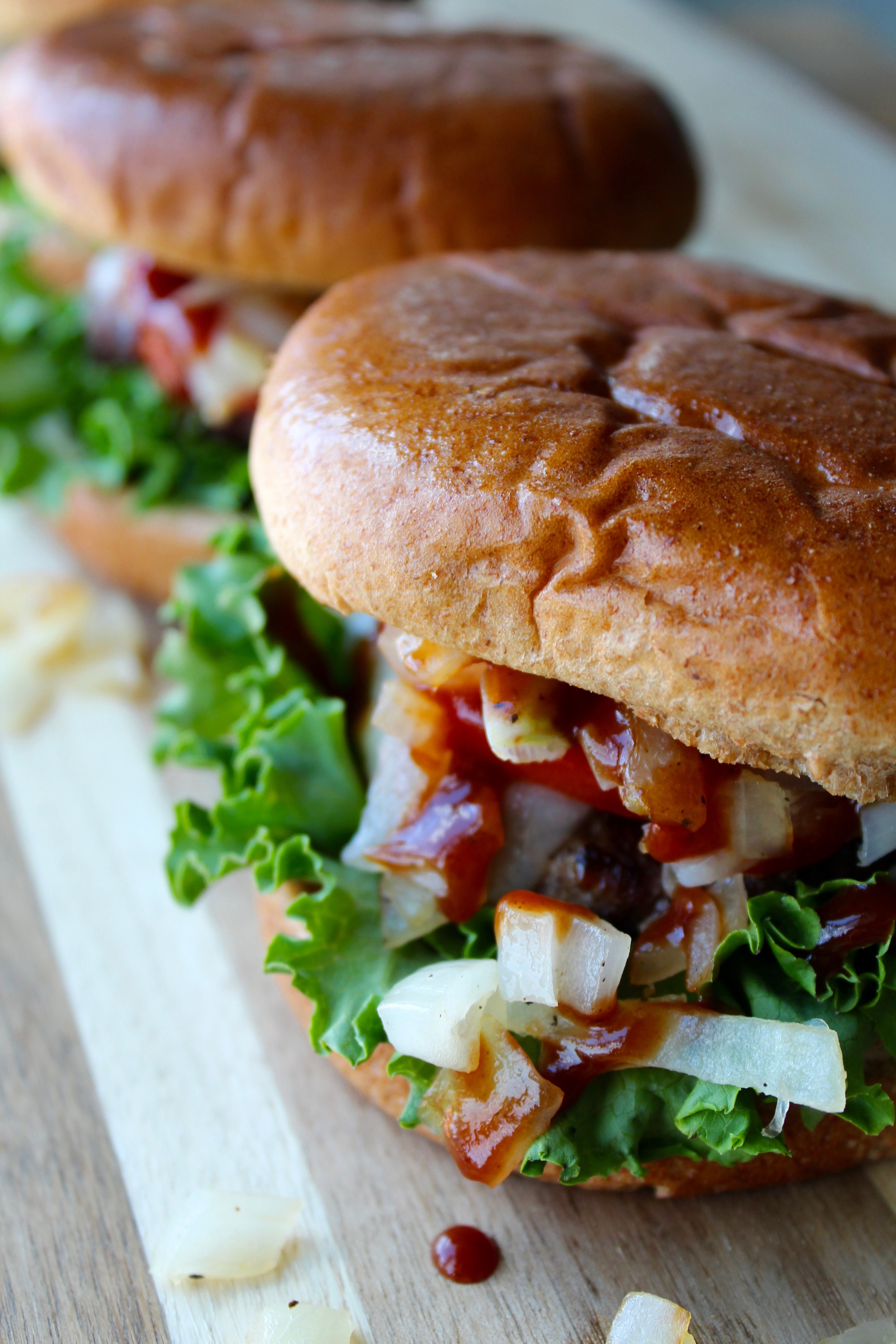 BBQ Bison Burger - Makes 4 servings345 calories / 12F / 33C / 26P