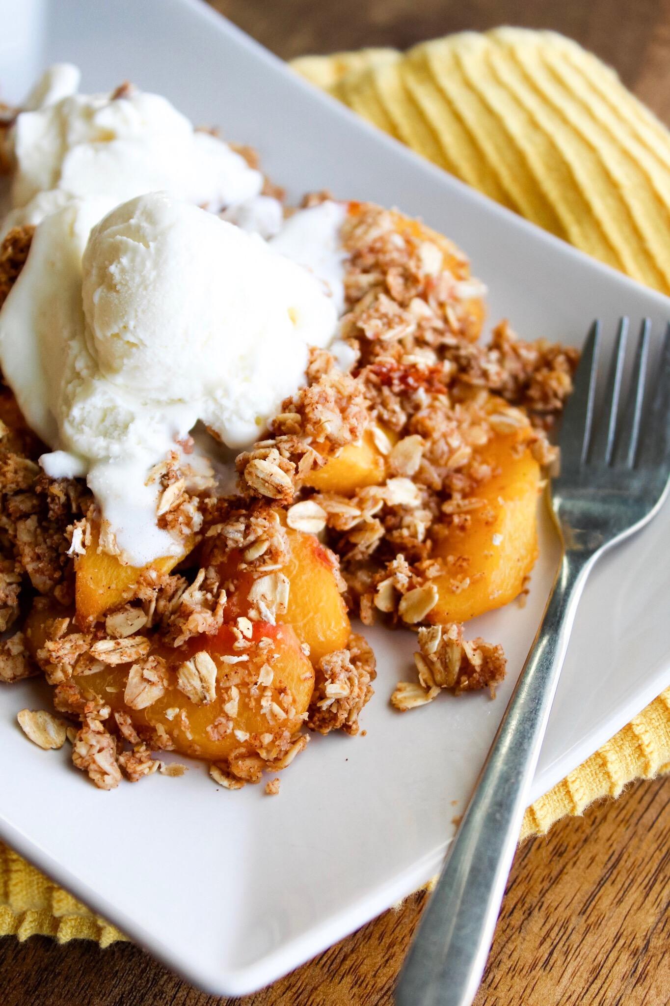PEACH CRISP - Makes 12 servingsCalories per serving: 235 caloriesMacros per serving: 7F / 39C / 6P*Macros without ice cream