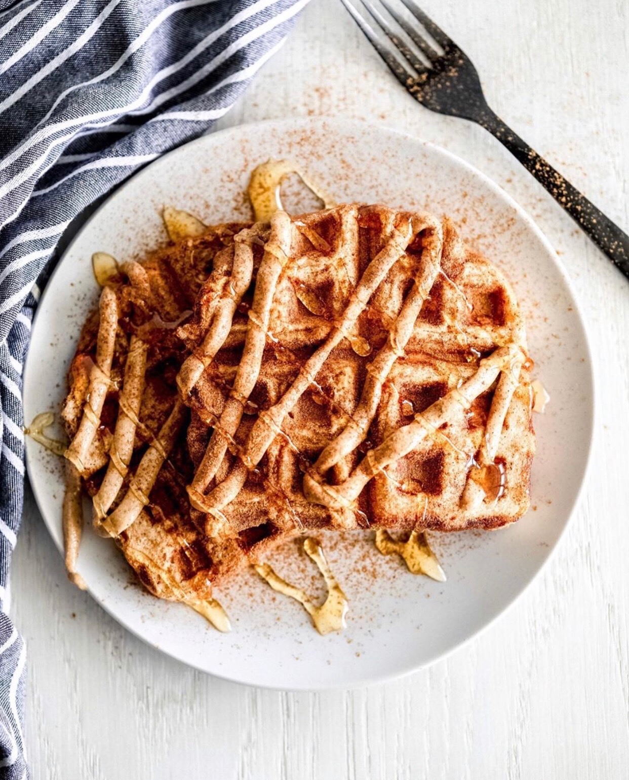 Cinnamon Waffled French Toast Crunch - Makes 1 serving340 calories7F / 45C / 21P