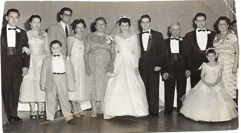 Italian Wedding, 50s Long Island. Joe is the boy. His parents on the far left.