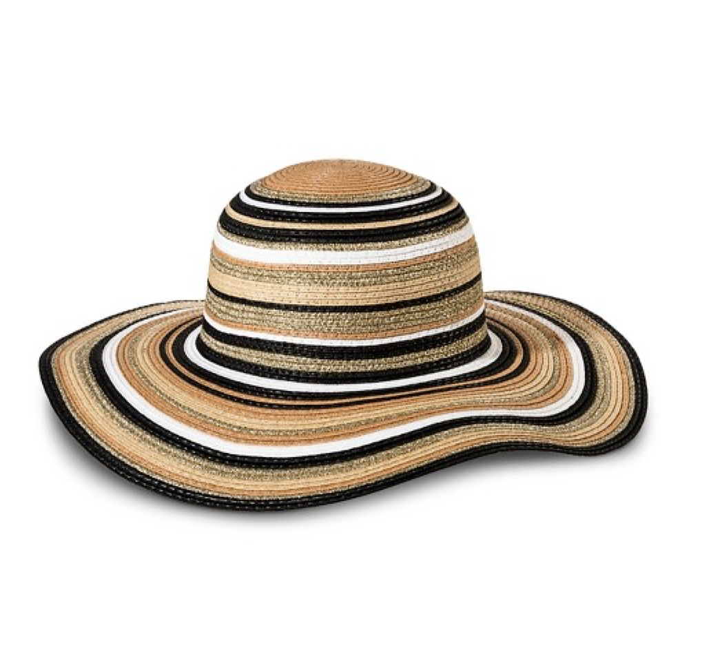 Neutral Stripes Floppy Brim Hat