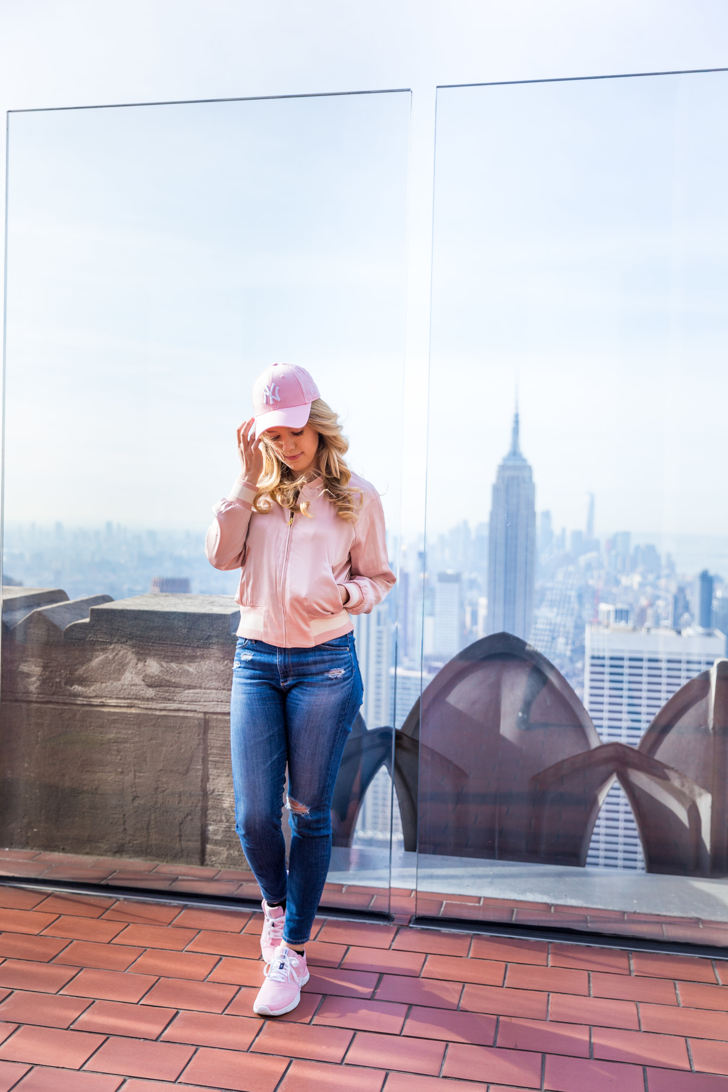 NYC Top of the Rock Pink Baseball Hat Outfit--2.jpg