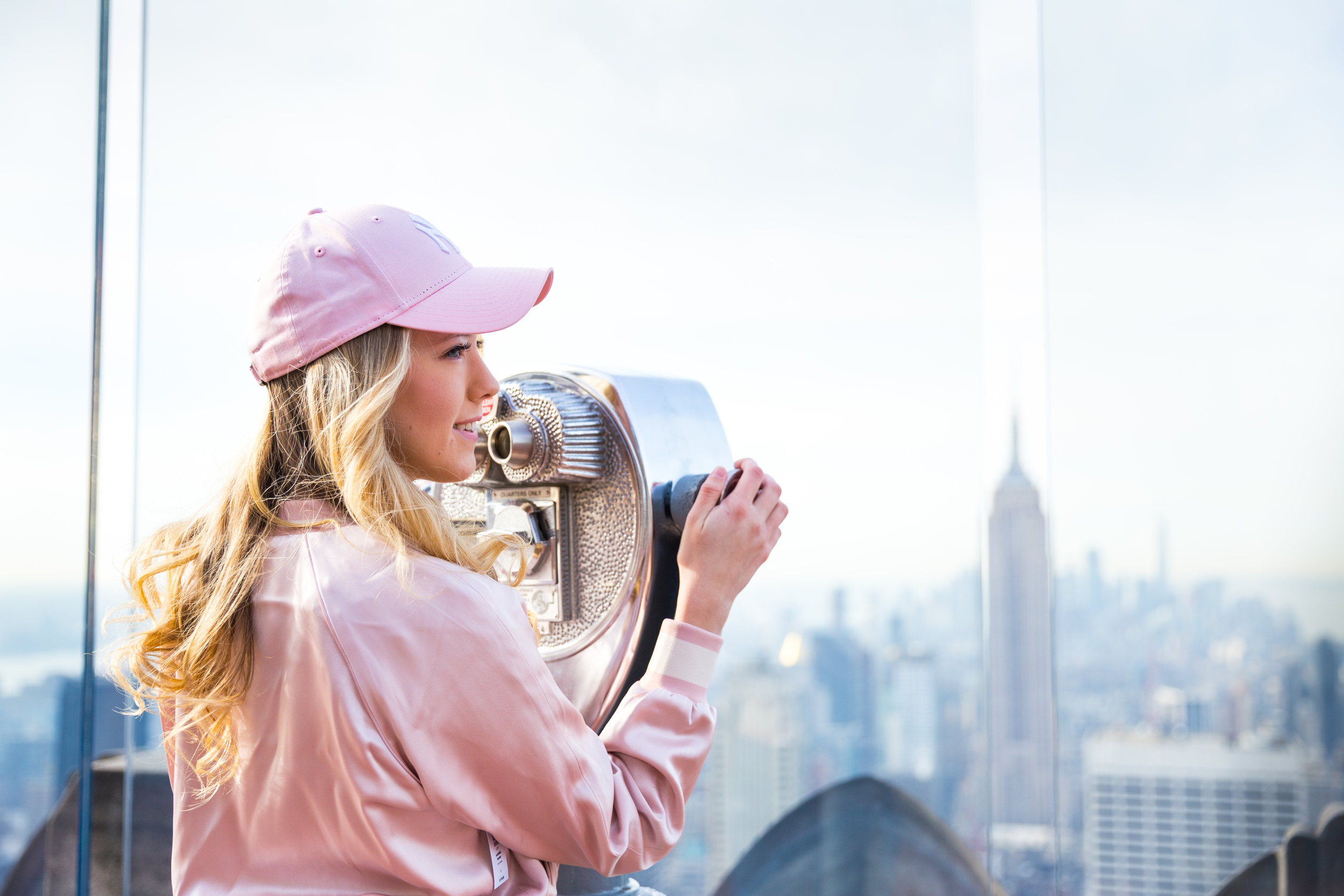 NYC Top of the Rock Pink Baseball Hat Outfit--10.jpg
