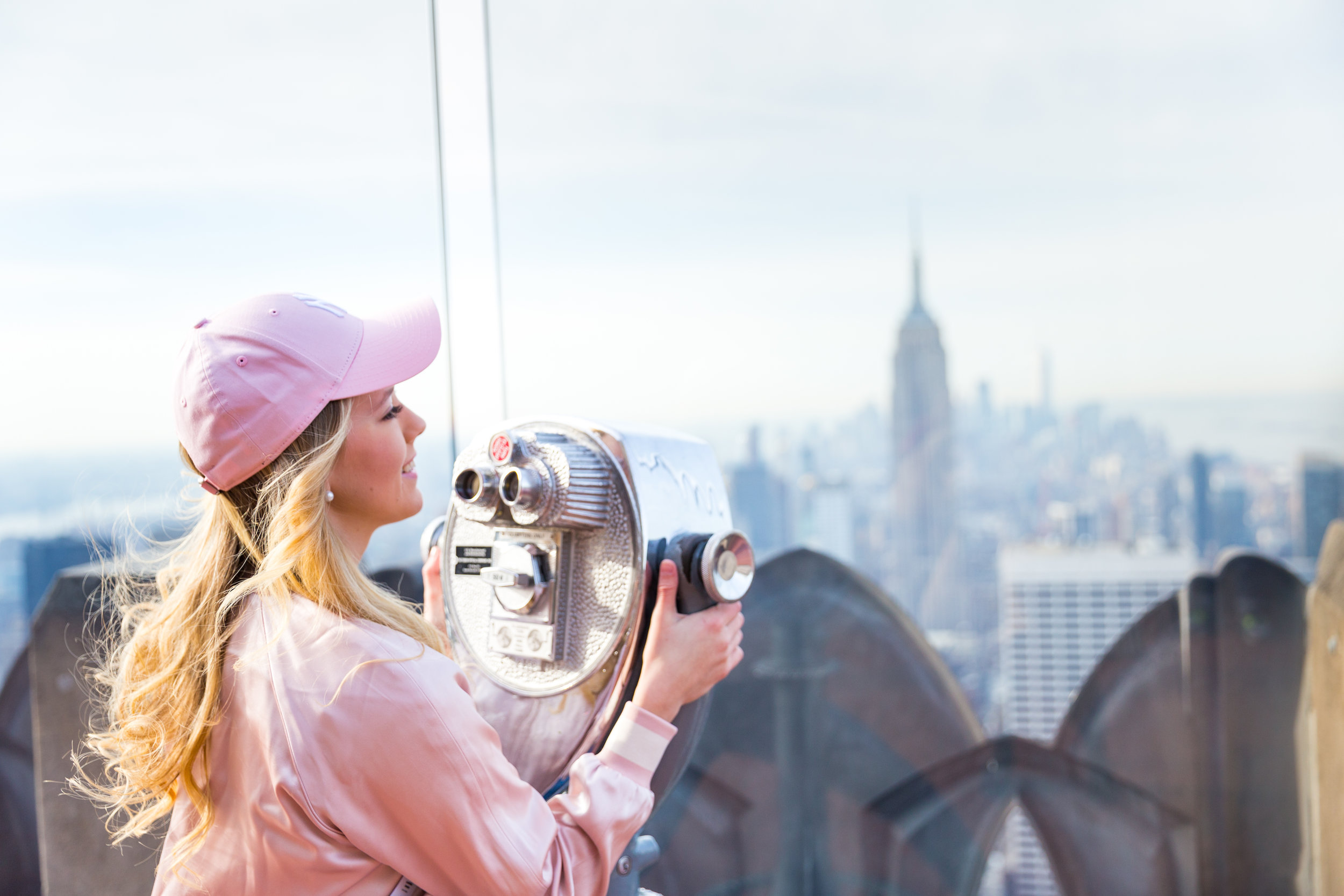NYC Top of the Rock Pink Baseball Hat Outfit--9.jpg