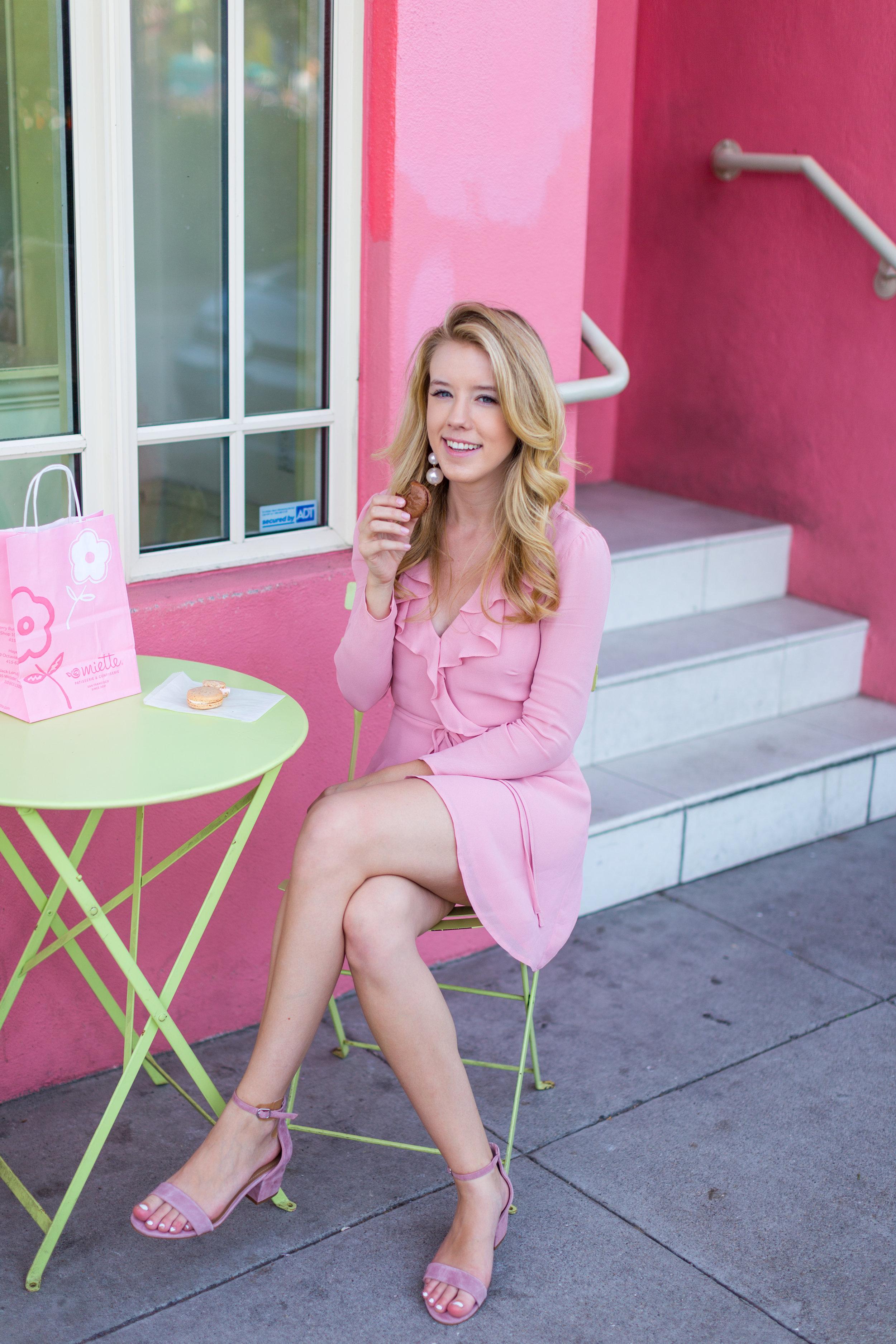 Pink Ruffle Wrap Dress Spring in San Francisco-8.jpg