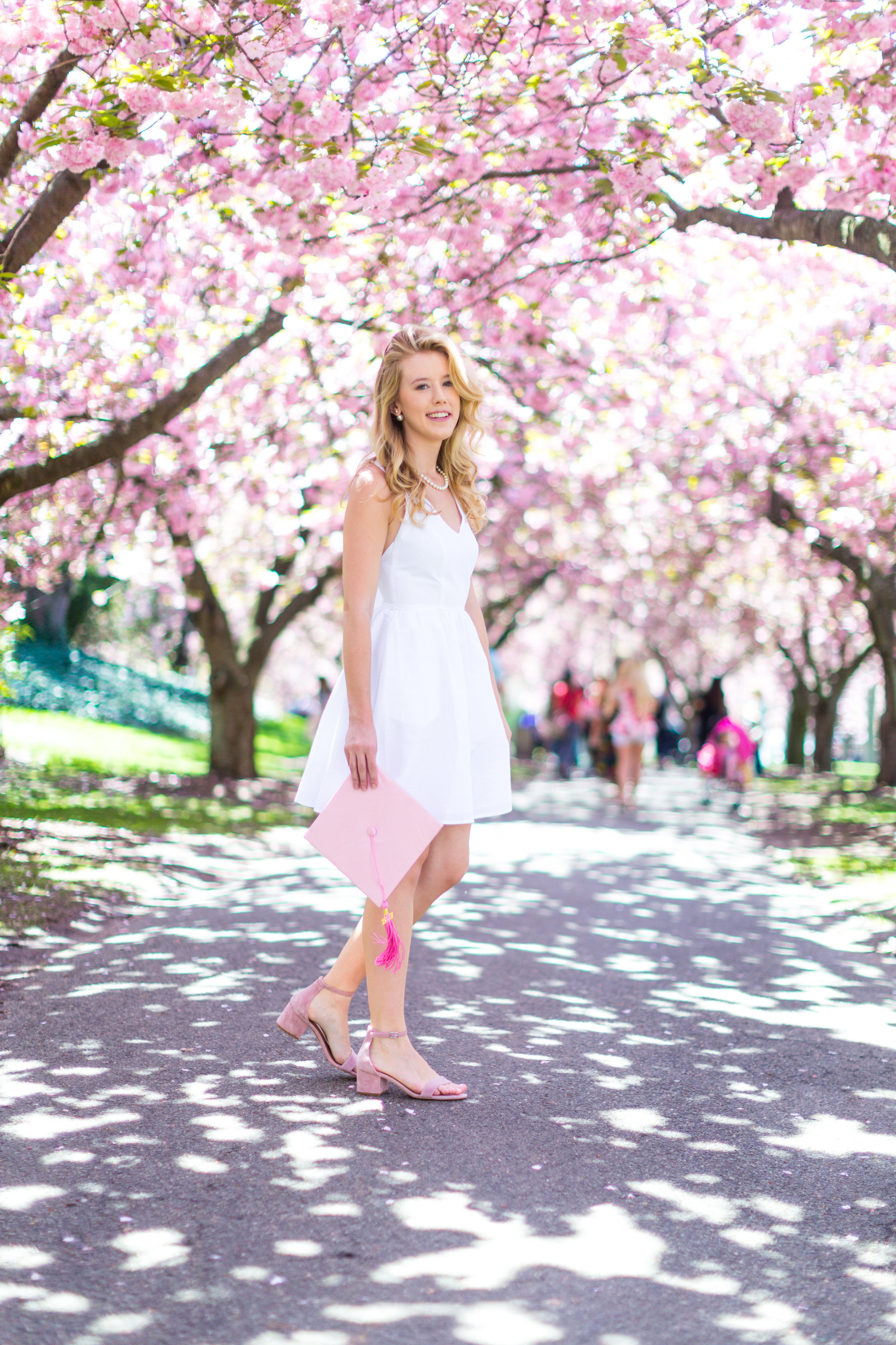 White Graduation Dress Spring Pink Cherry Blossoms NYC-2.jpg