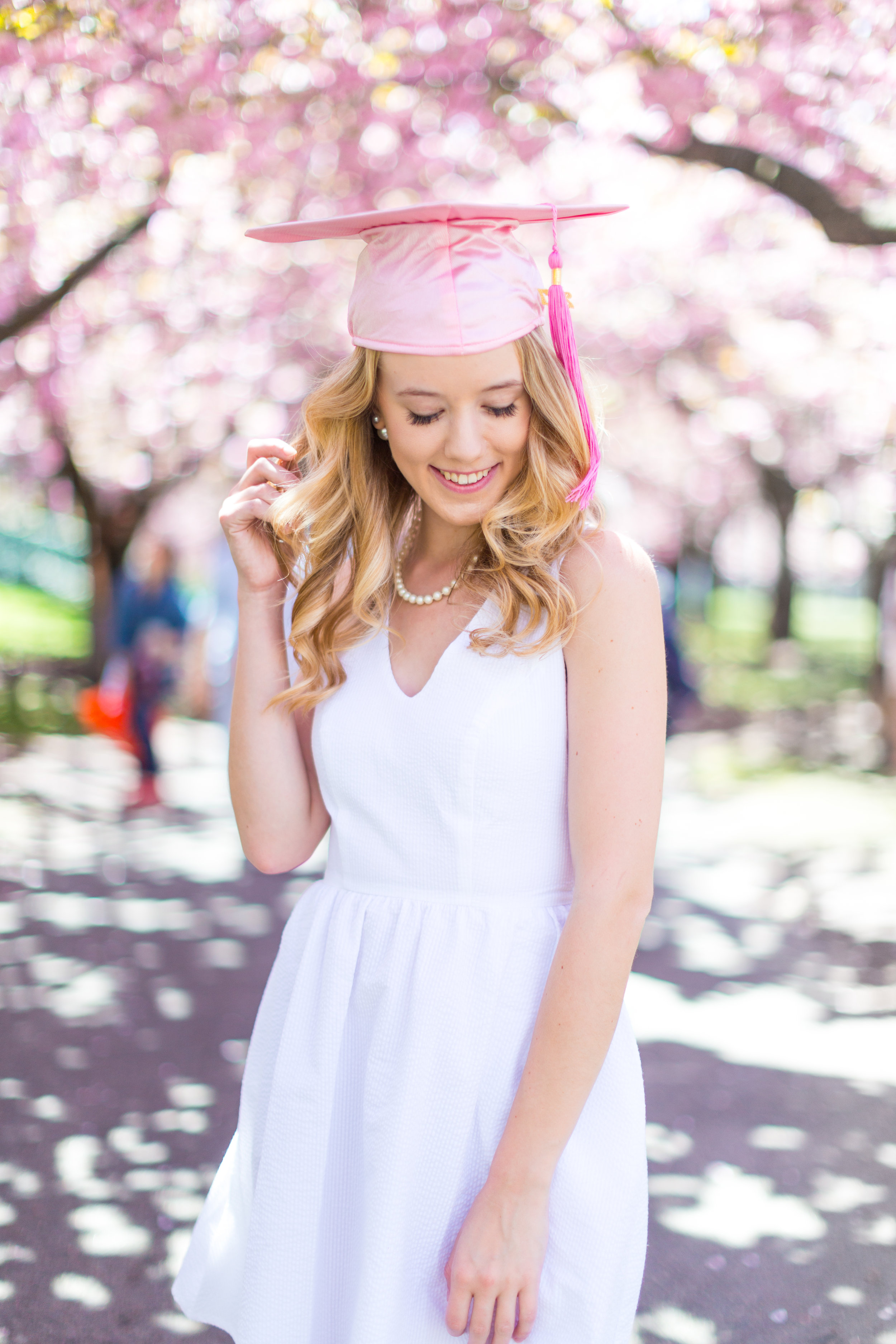 White Graduation Dress Spring Pink Cherry Blossoms NYC-5.jpg