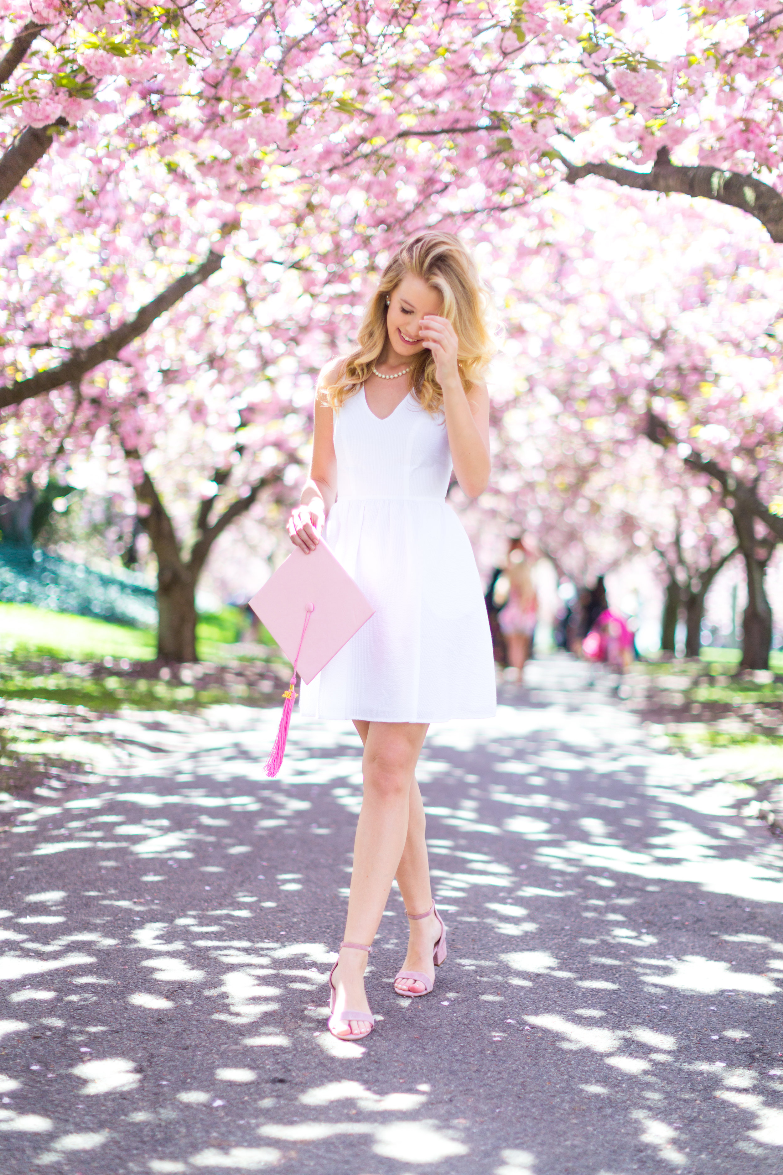 White Graduation Dress Spring Pink Cherry Blossoms NYC-4.jpg
