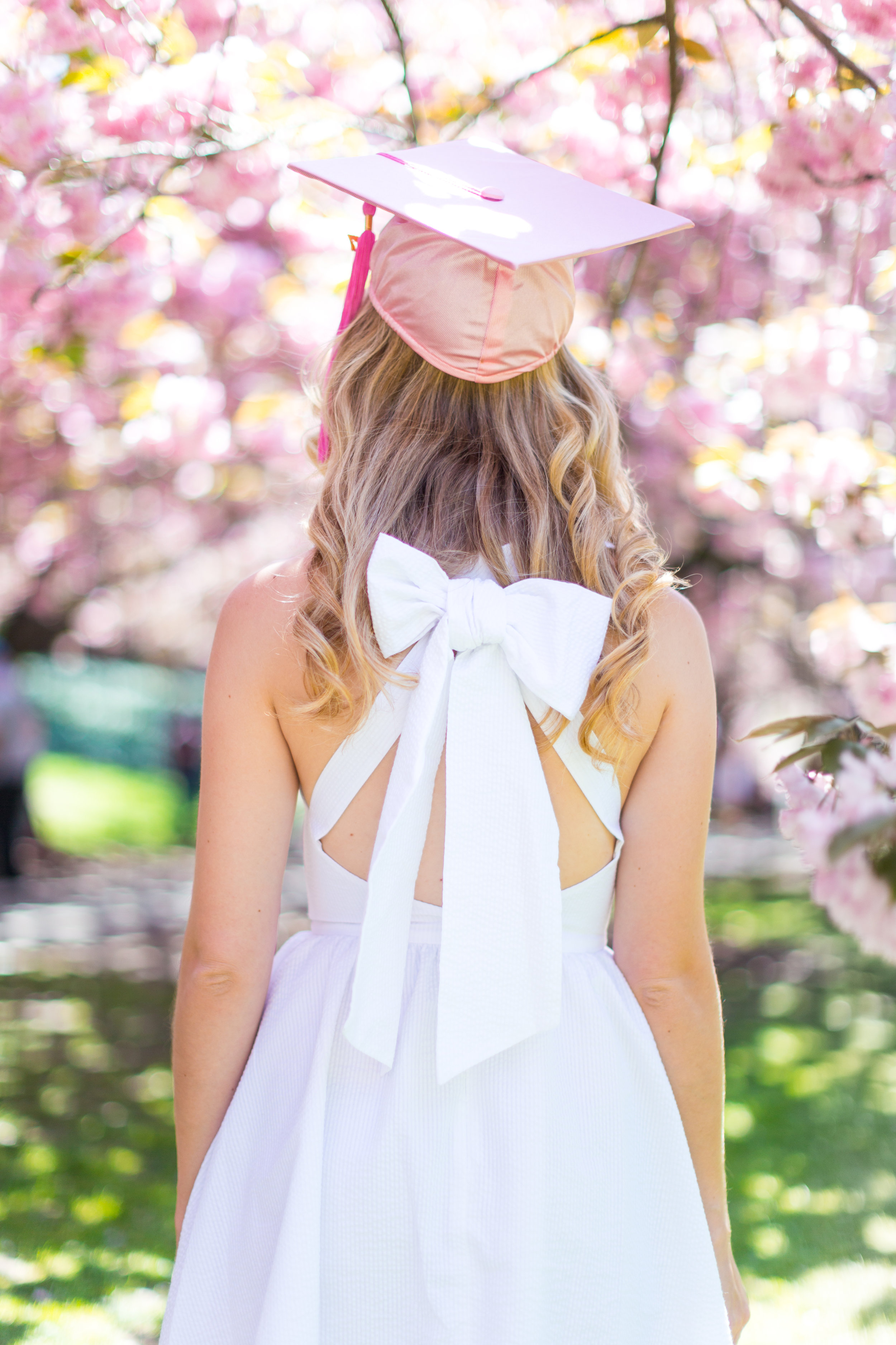 White Graduation Dress Spring Pink Cherry Blossoms NYC-13.jpg
