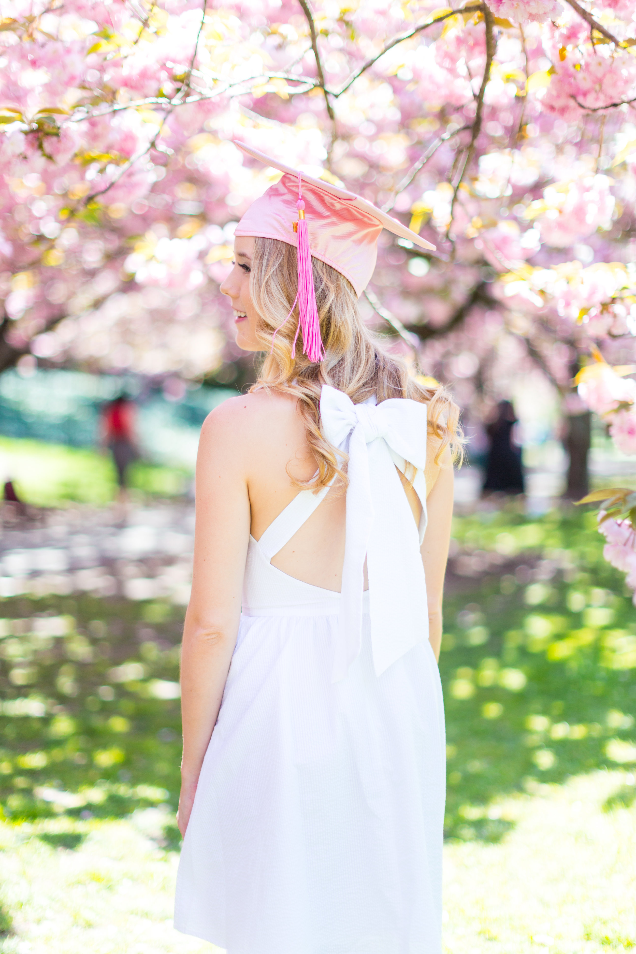 White Graduation Dress Spring Pink Cherry Blossoms NYC-15.jpg