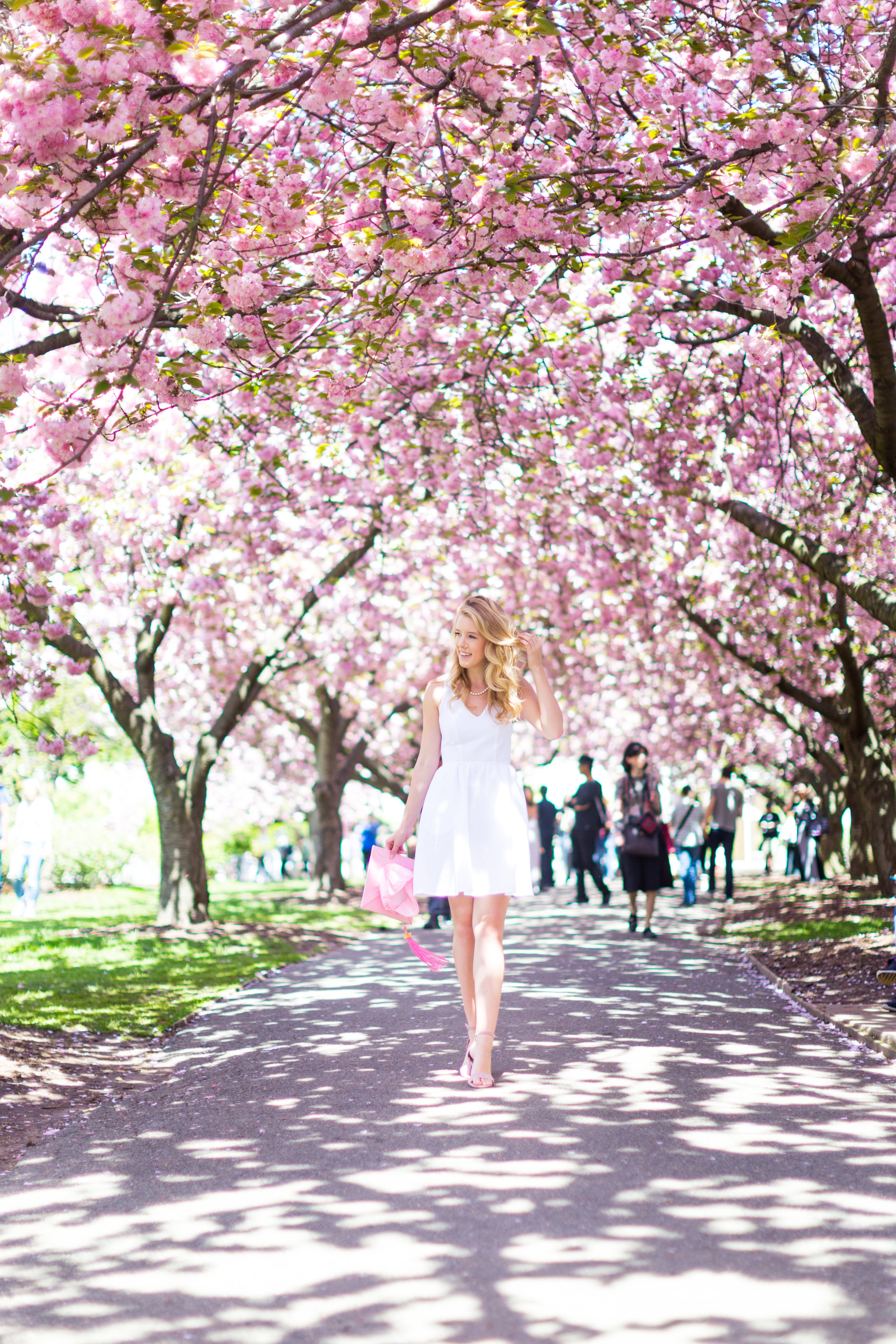 White Graduation Dress Spring Pink Cherry Blossoms NYC-21.jpg
