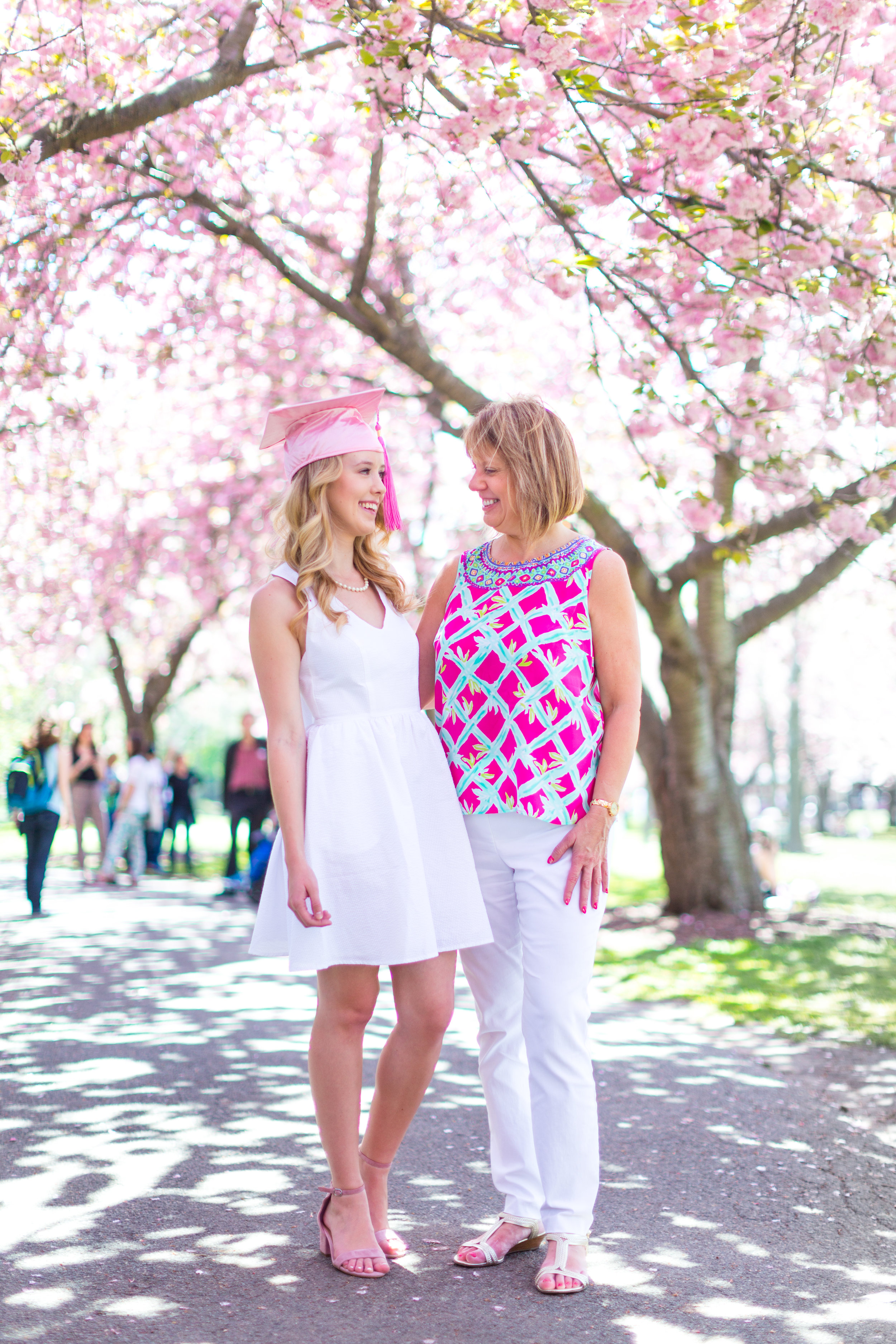 White Graduation Dress Spring Pink Cherry Blossoms NYC-25.jpg
