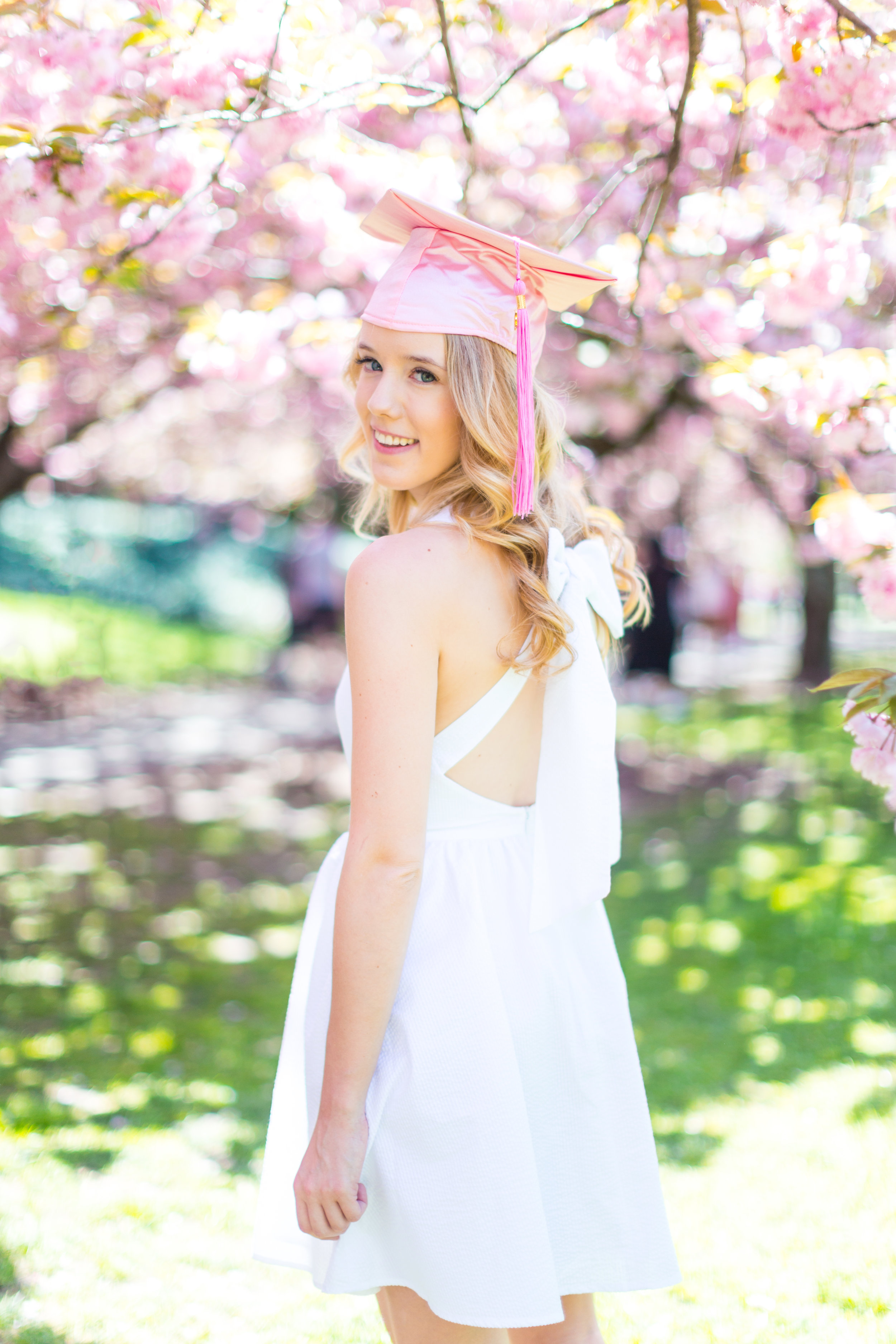 White Graduation Dress Spring Pink Cherry Blossoms NYC-14.jpg