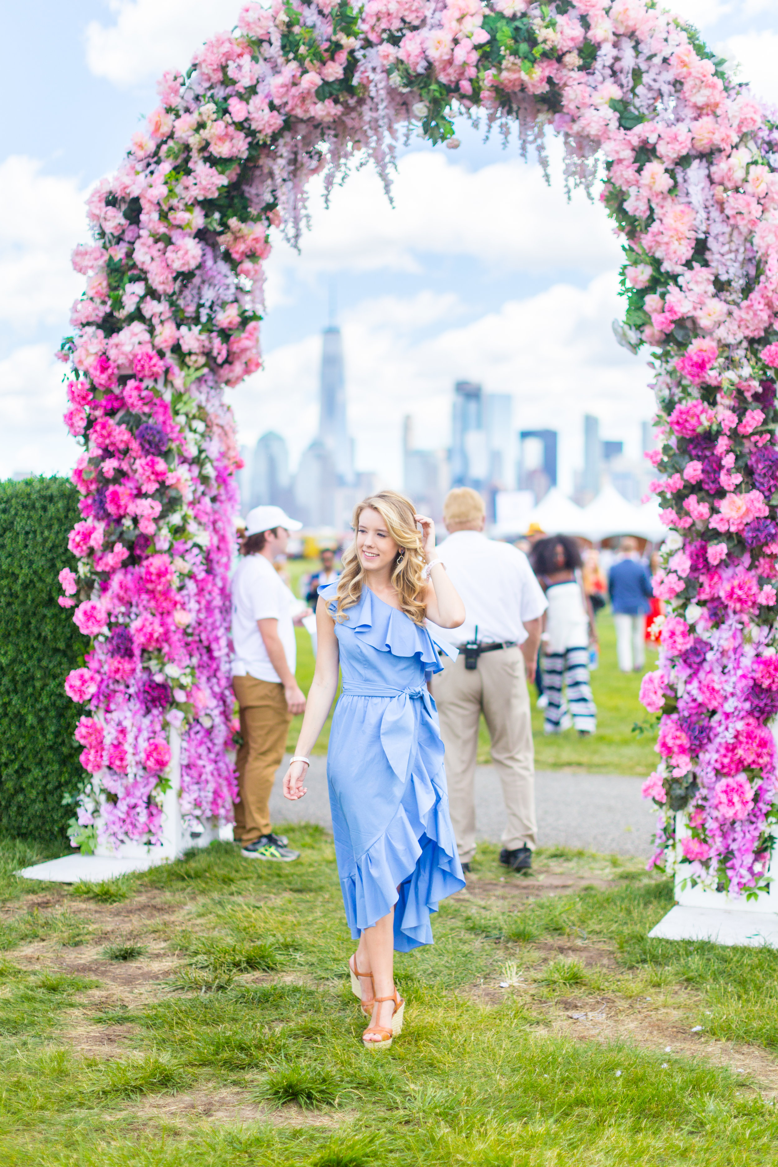 Veuve Clicquot Polo Classic NYC Summer Style Ruffled One Shoulder Blue Dress-3.jpg