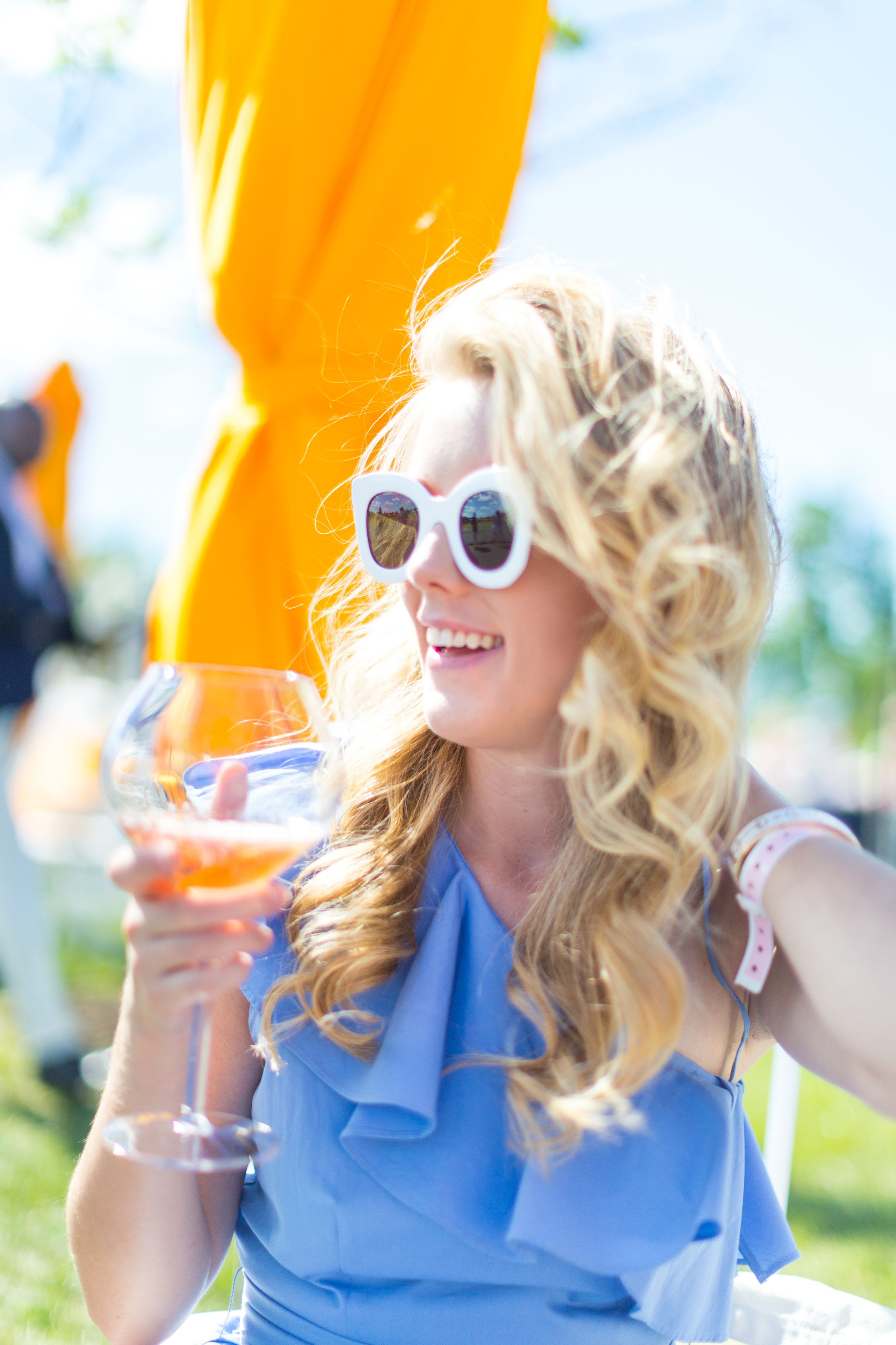 Veuve Clicquot Polo Classic NYC Summer Style Ruffled One Shoulder Blue Dress-9.jpg