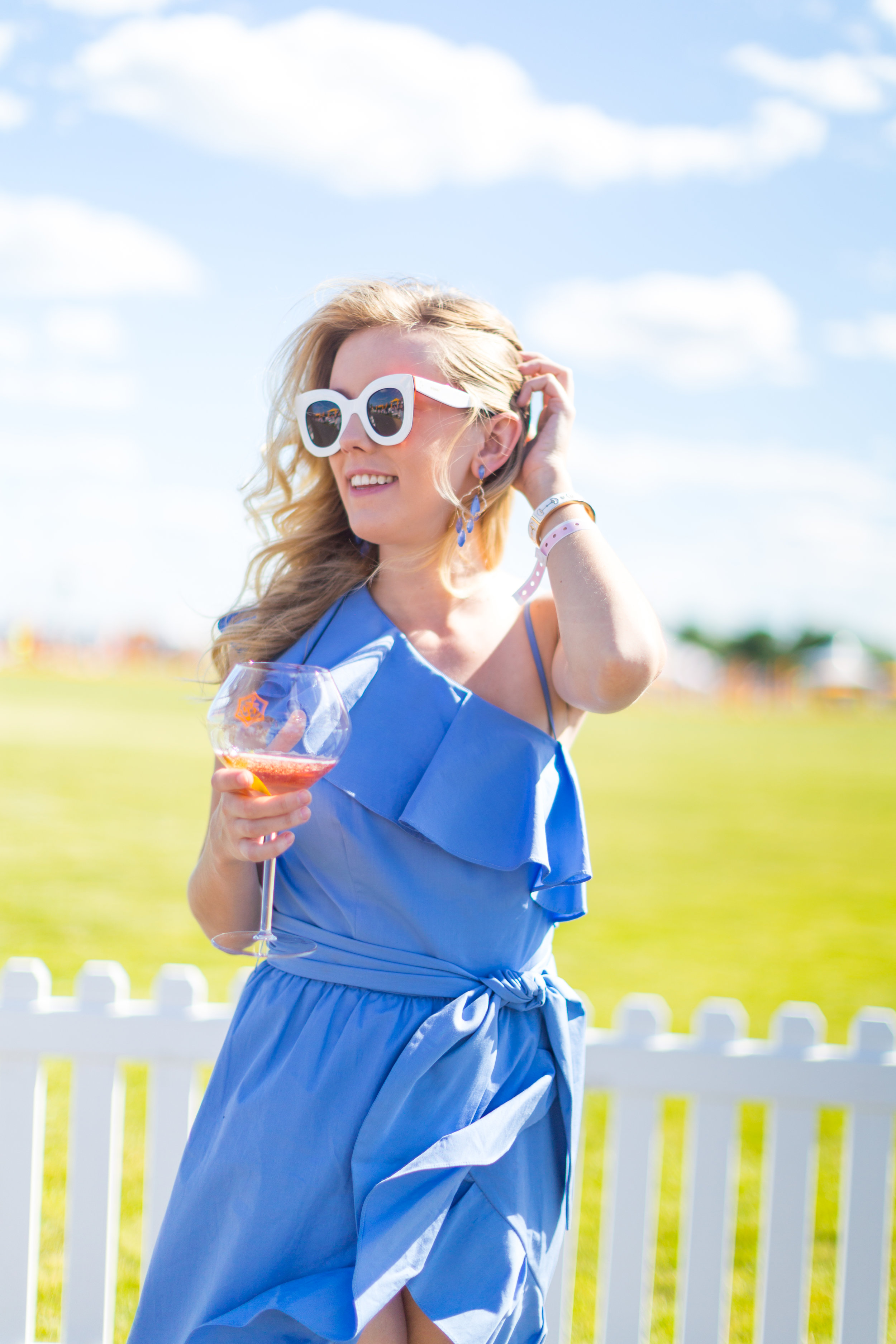 Veuve Clicquot Polo Classic NYC Summer Style Ruffled One Shoulder Blue Dress-11.jpg