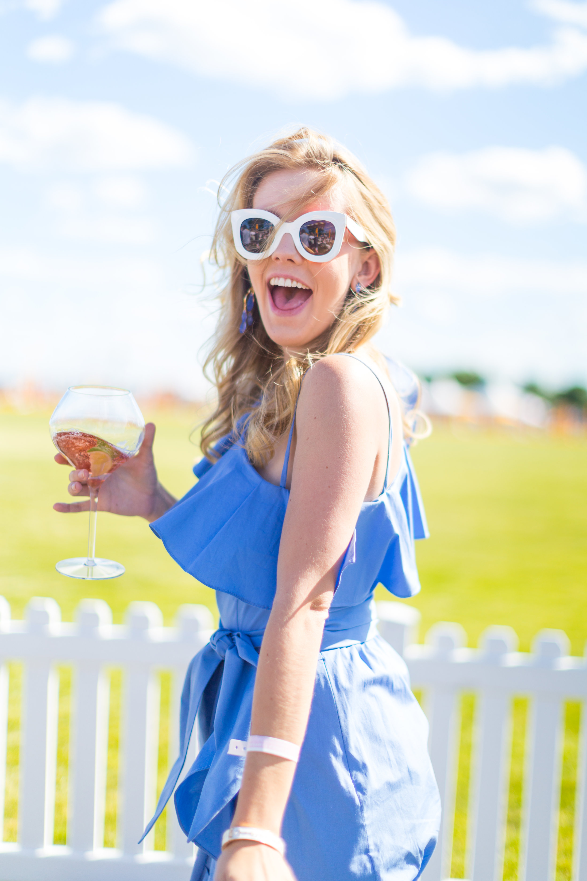 Veuve Clicquot Polo Classic NYC Summer Style Ruffled One Shoulder Blue Dress-13.jpg