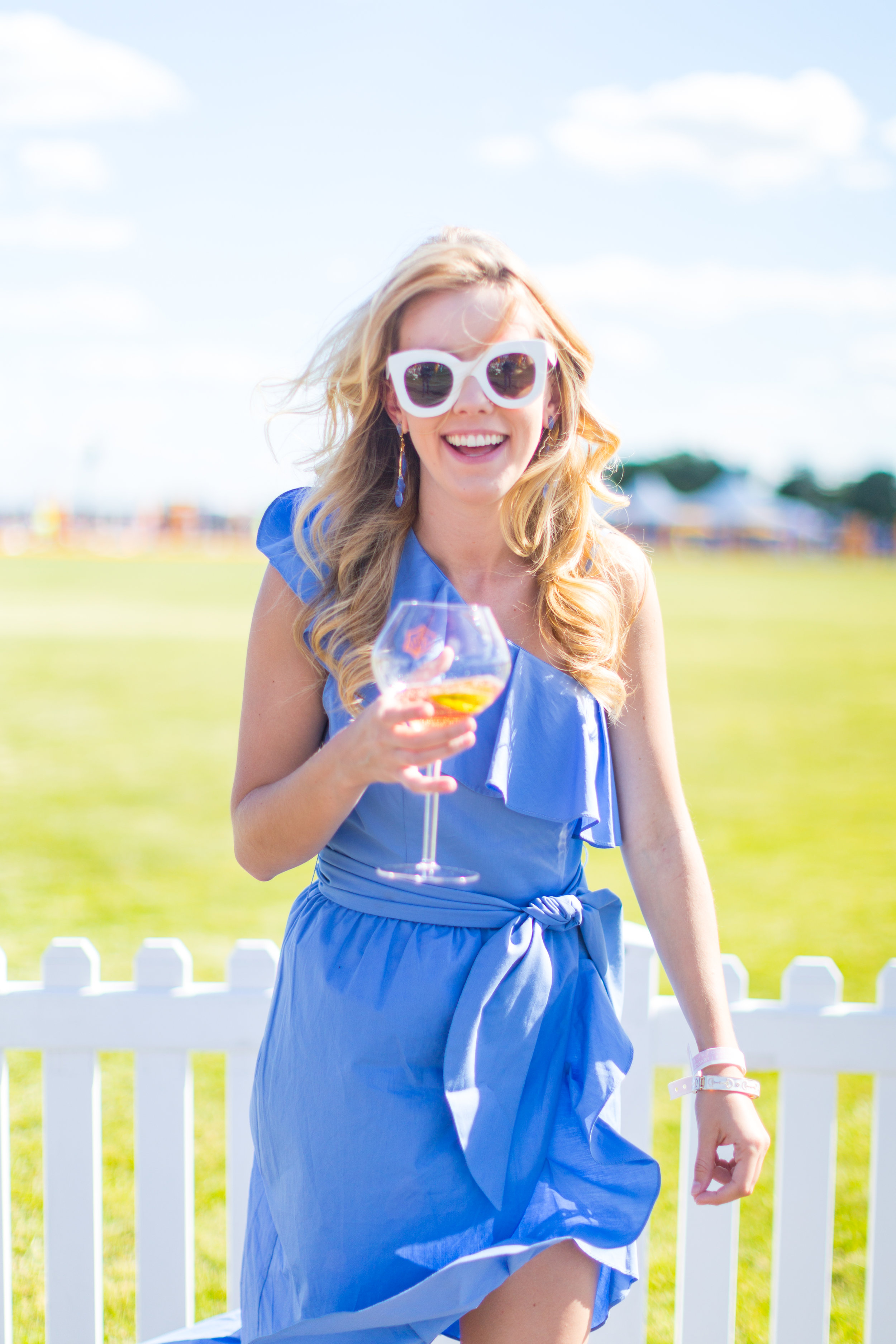 Veuve Clicquot Polo Classic NYC Summer Style Ruffled One Shoulder Blue Dress-14.jpg