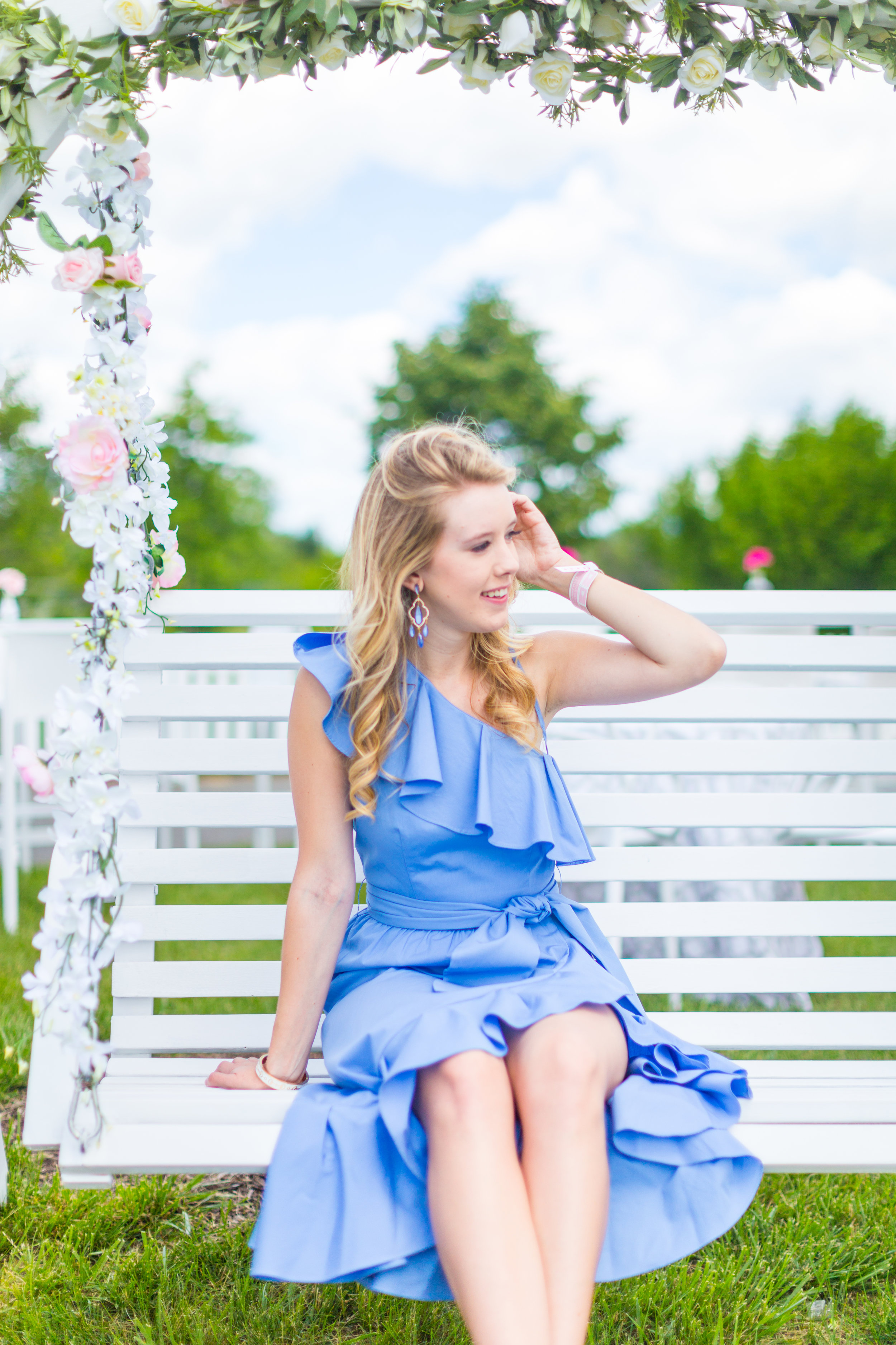 Veuve Clicquot Polo Classic NYC Summer Style Ruffled One Shoulder Blue Dress-18.jpg