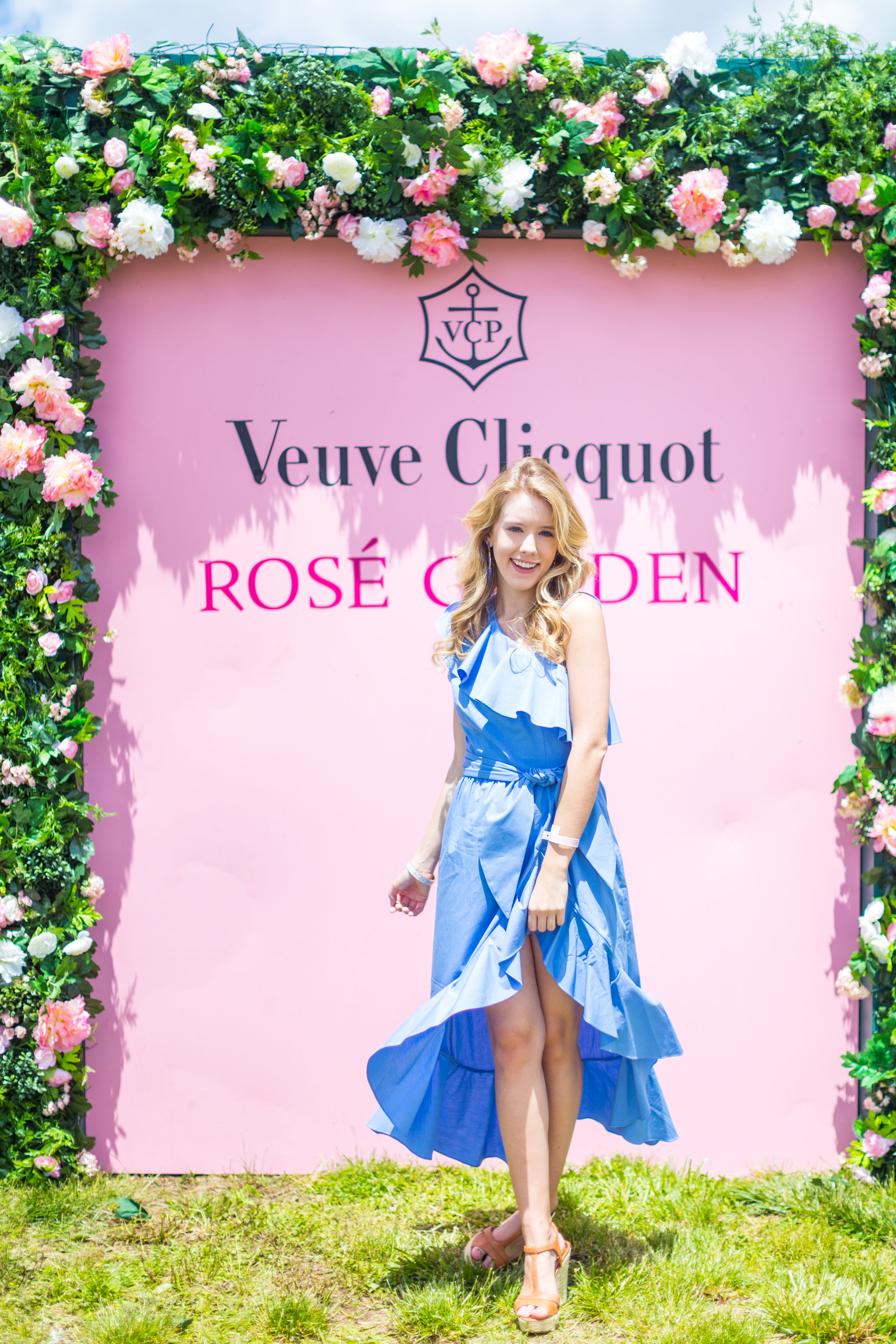 Veuve Clicquot Polo Classic NYC Summer Style Ruffled One Shoulder Blue Dress.jpg