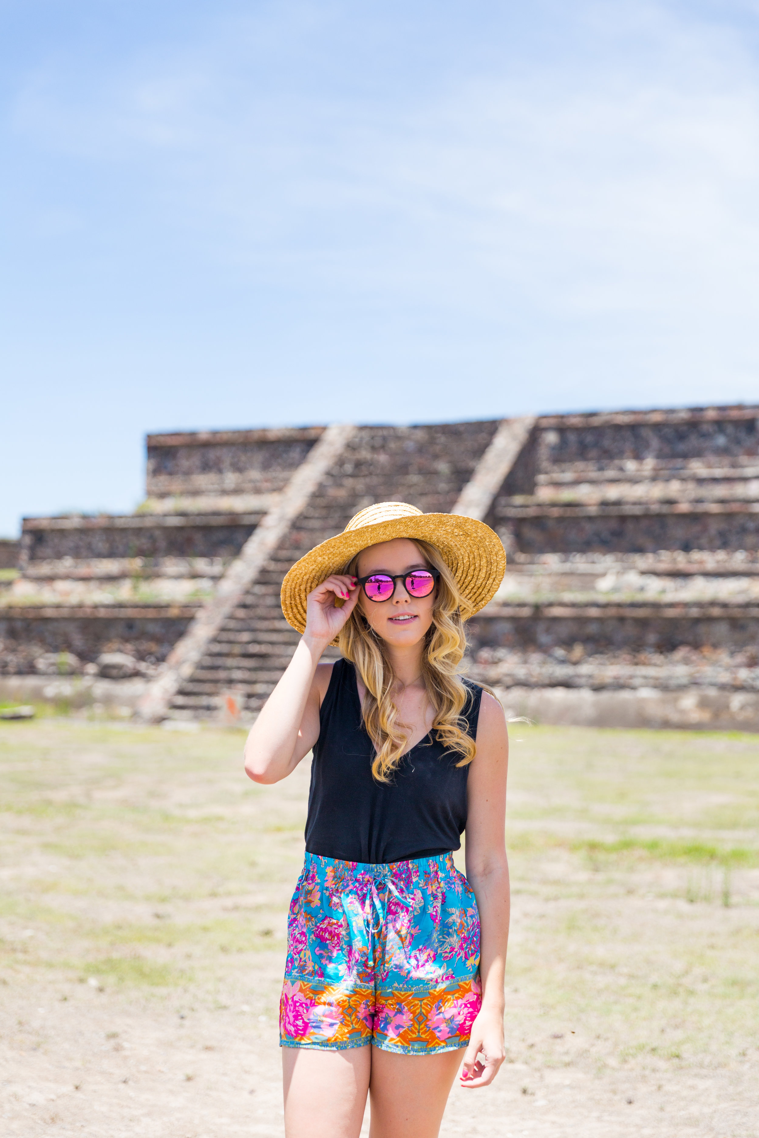 Mexico City Teotihuacan Pyramids Pattern Shorts Casual Summer Outfit-4.jpg