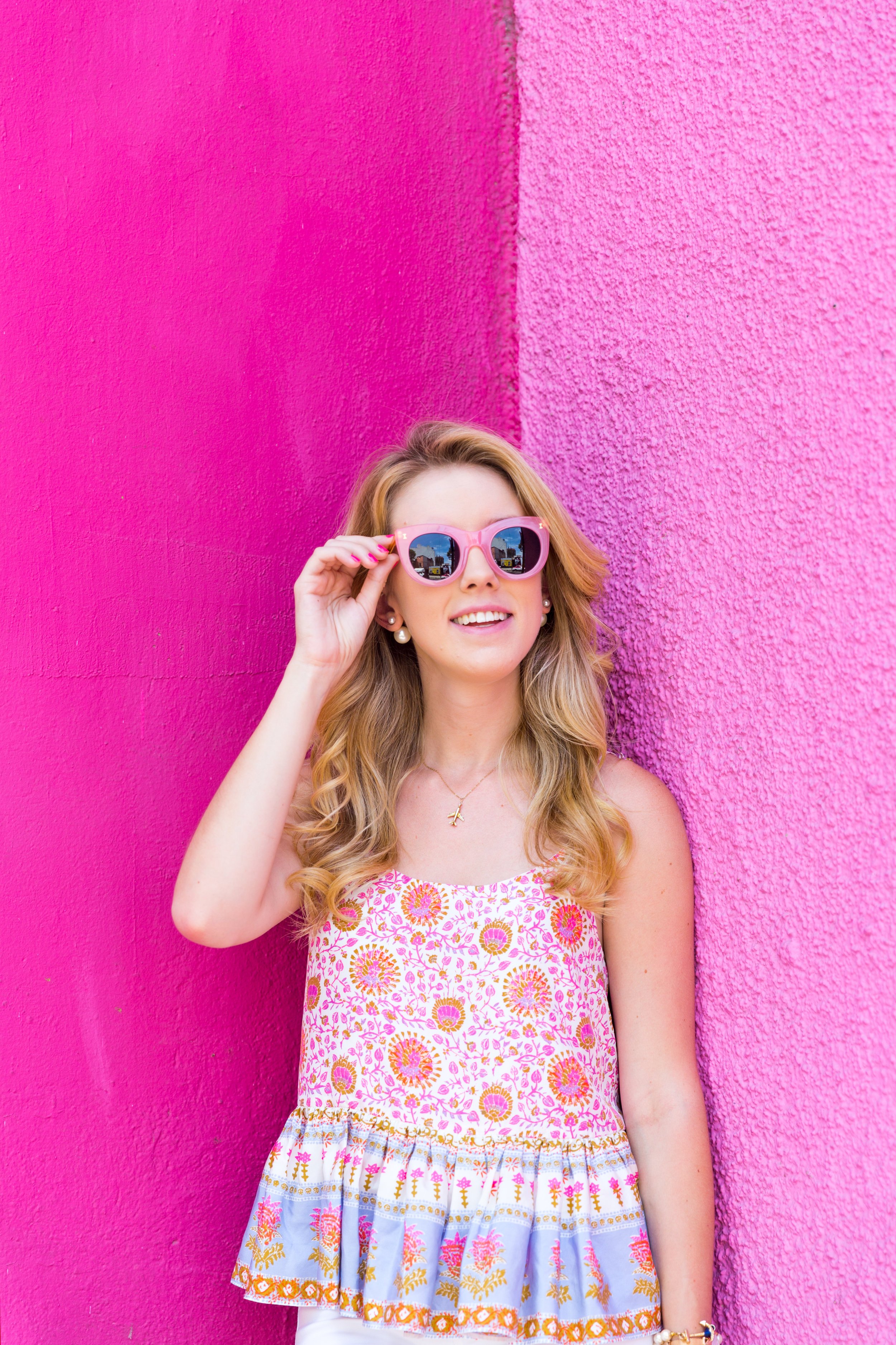 Mexico City Pink Wall Summer Outfit White Jeans Peplum Cami-7.jpg