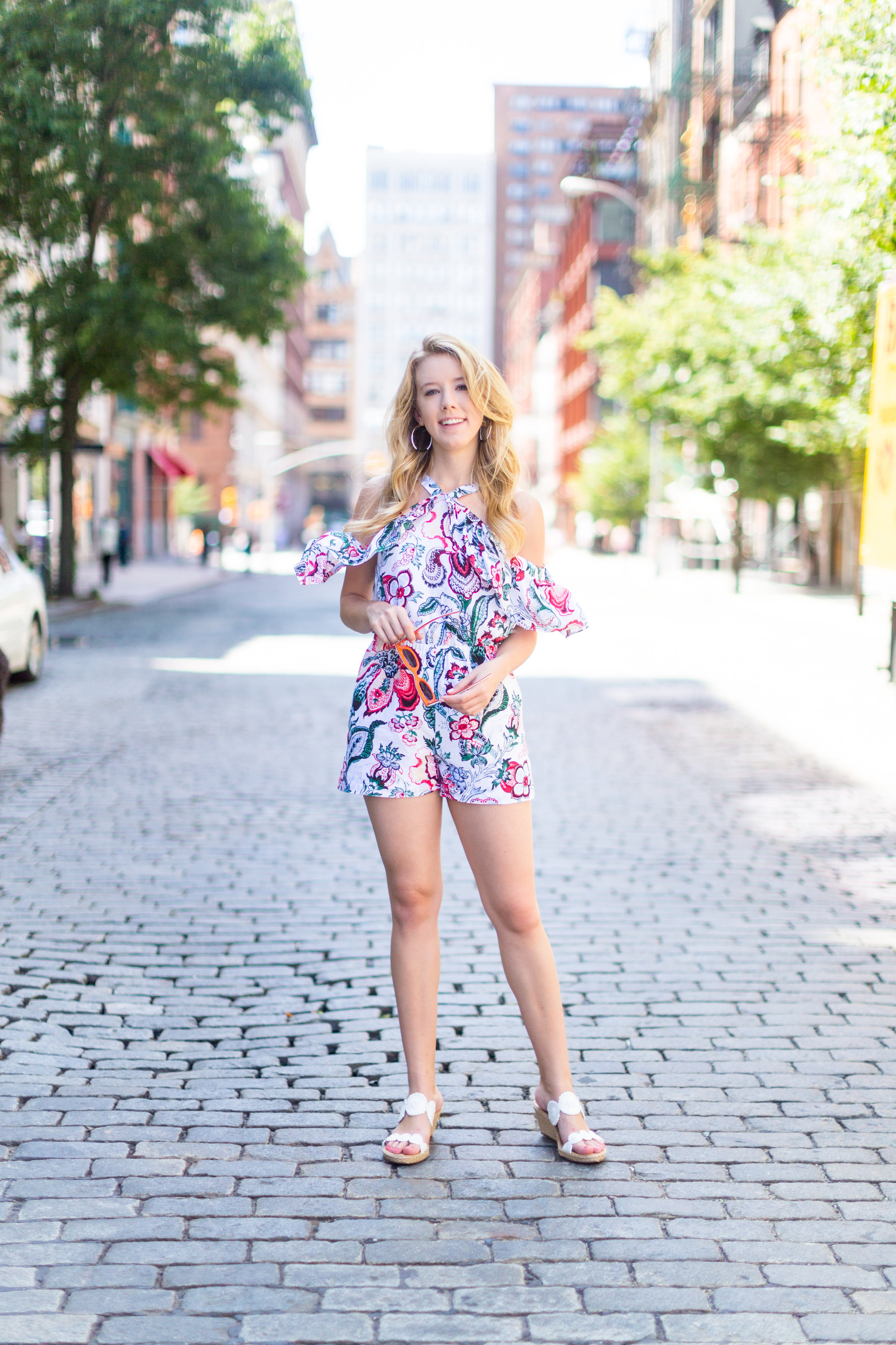 NYC Summer Outfit Floral Ruffled Romper-10.jpg