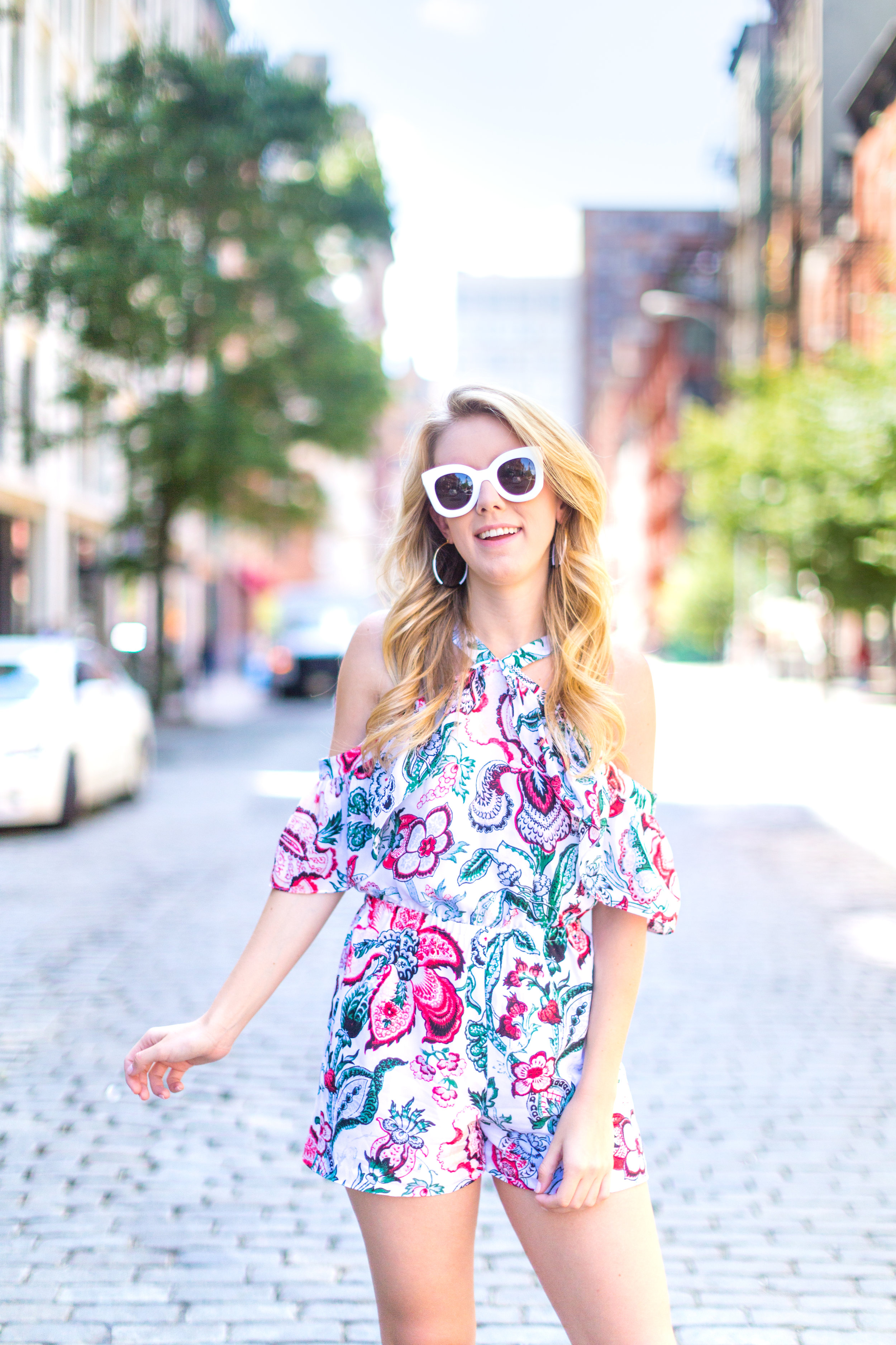 NYC Summer Outfit Floral Ruffled Romper-15.jpg