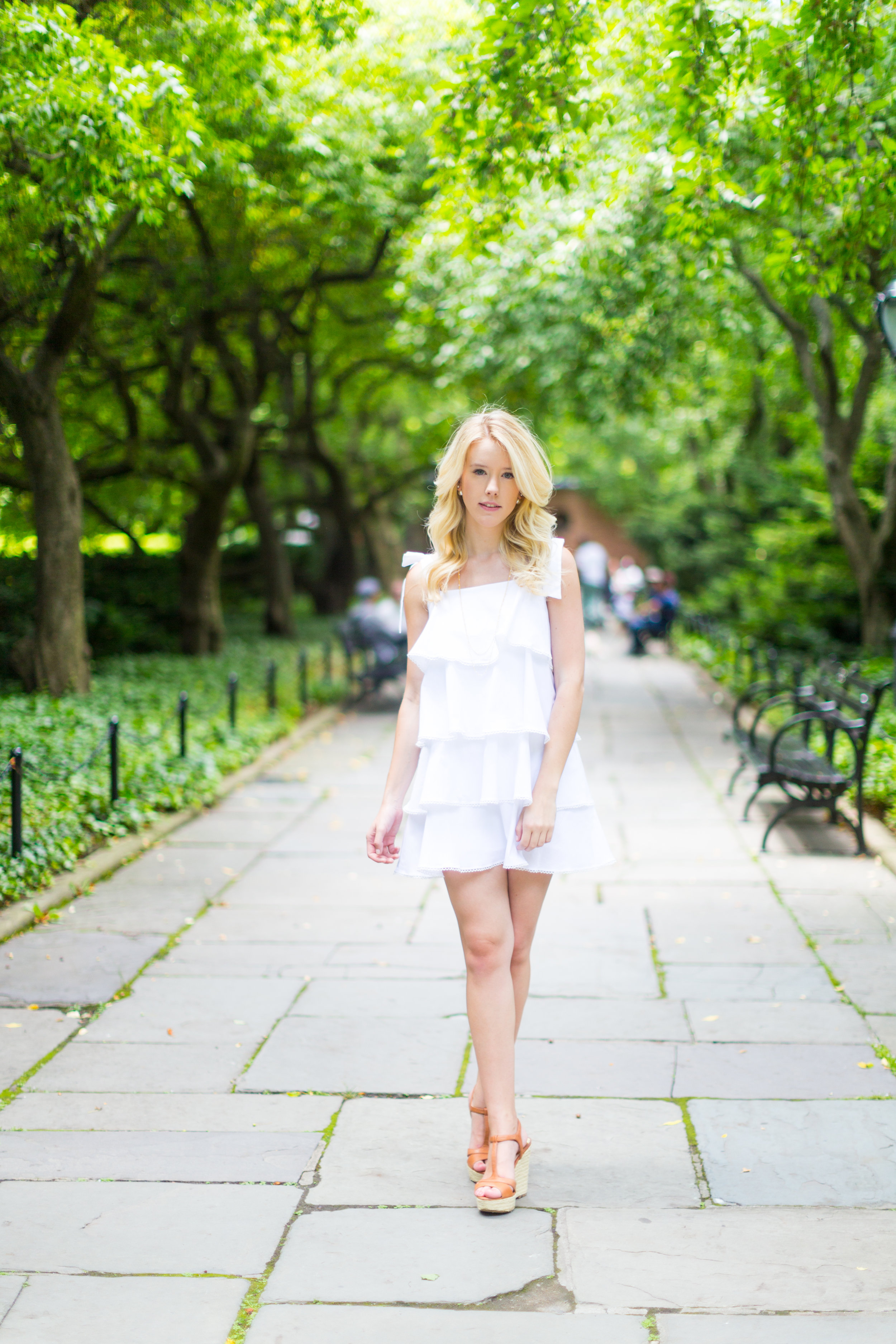 NYC Central Park Summer Fashion White Ruffled Dress-3.jpg