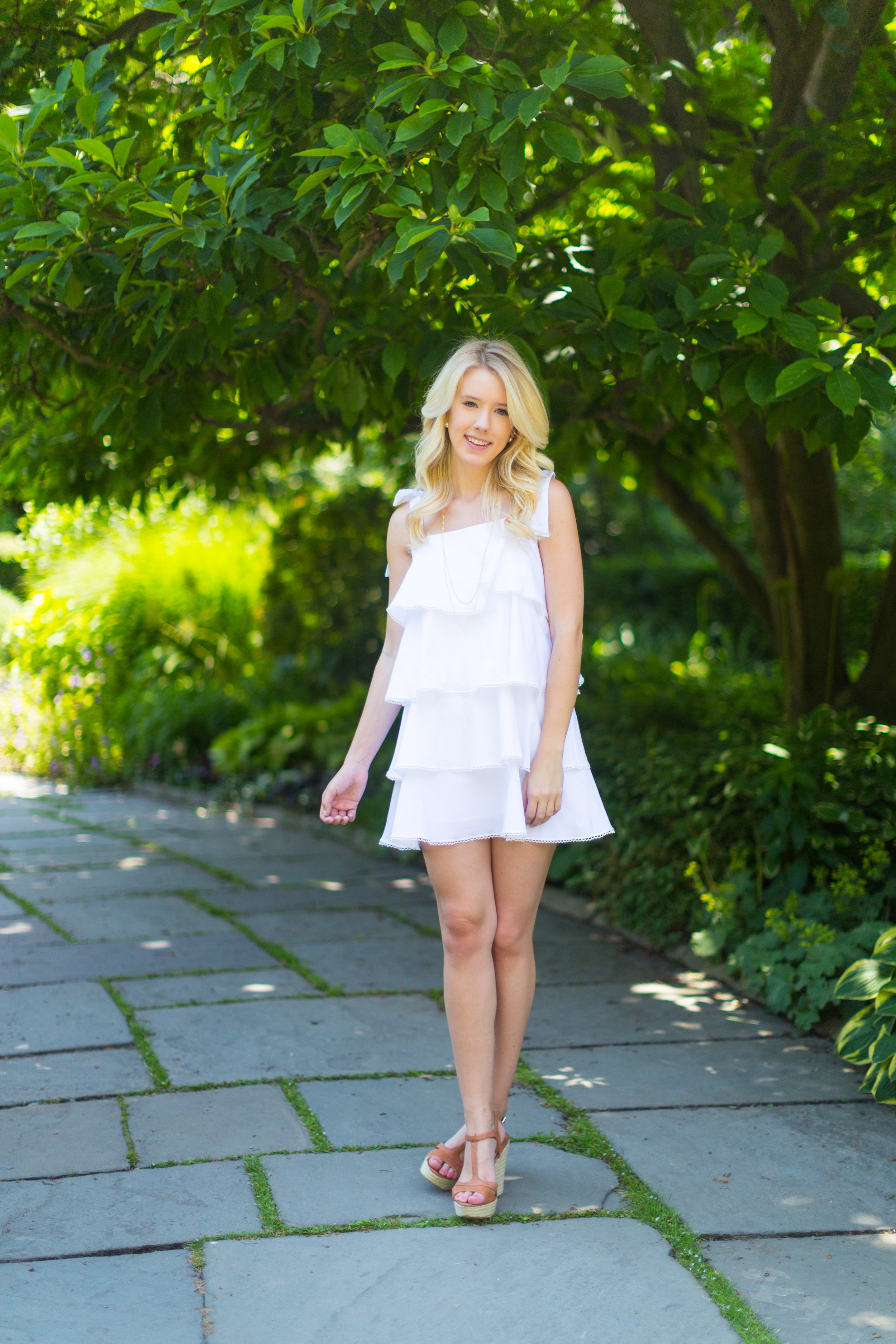 NYC Central Park Summer Fashion White Ruffled Dress-2.jpg