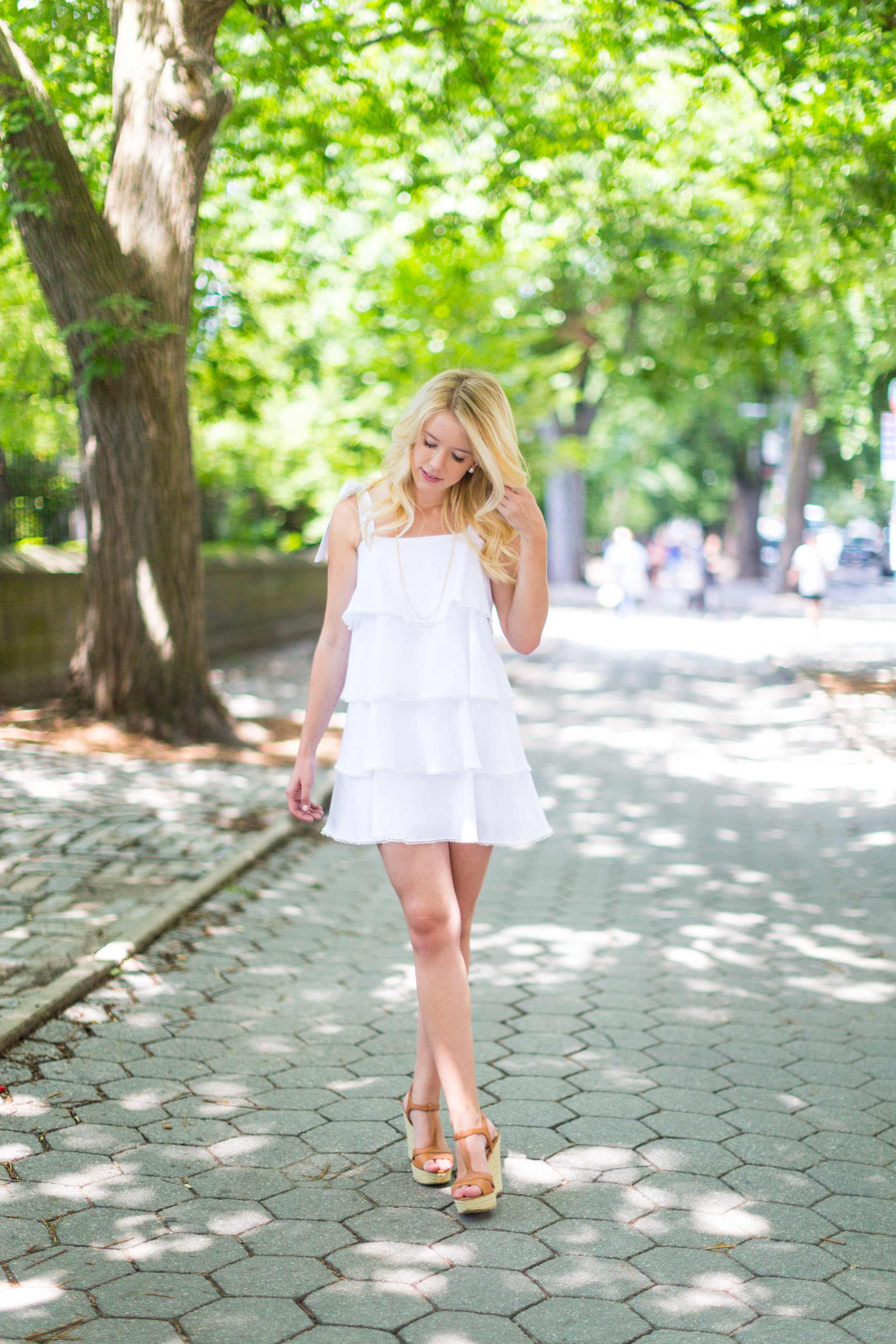 NYC Central Park Summer Fashion White Ruffled Dress-4.jpg